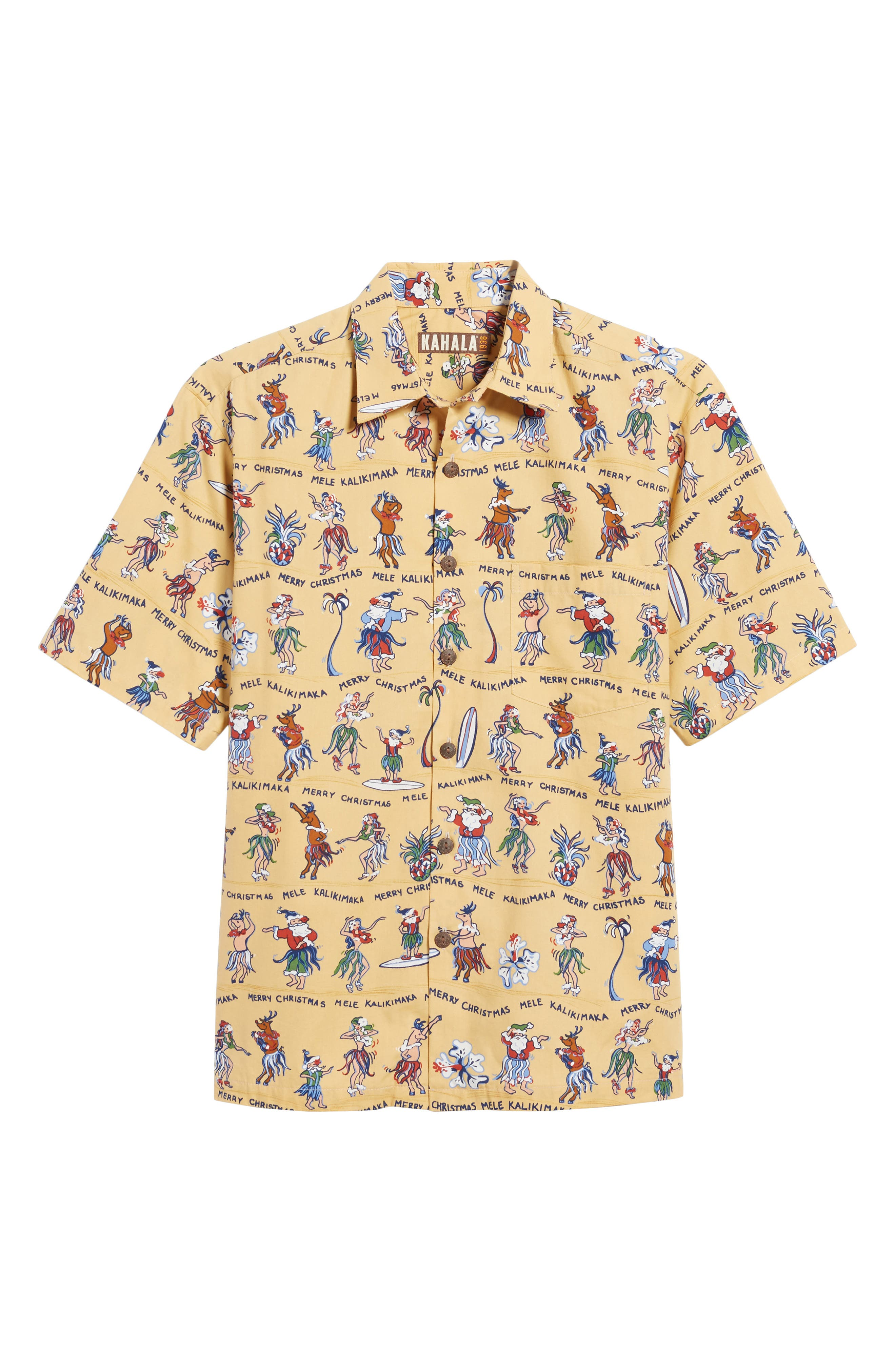 Kalikimaka Classic Fit Print Camp Shirt,                             Alternate thumbnail 6, color,                             Sun