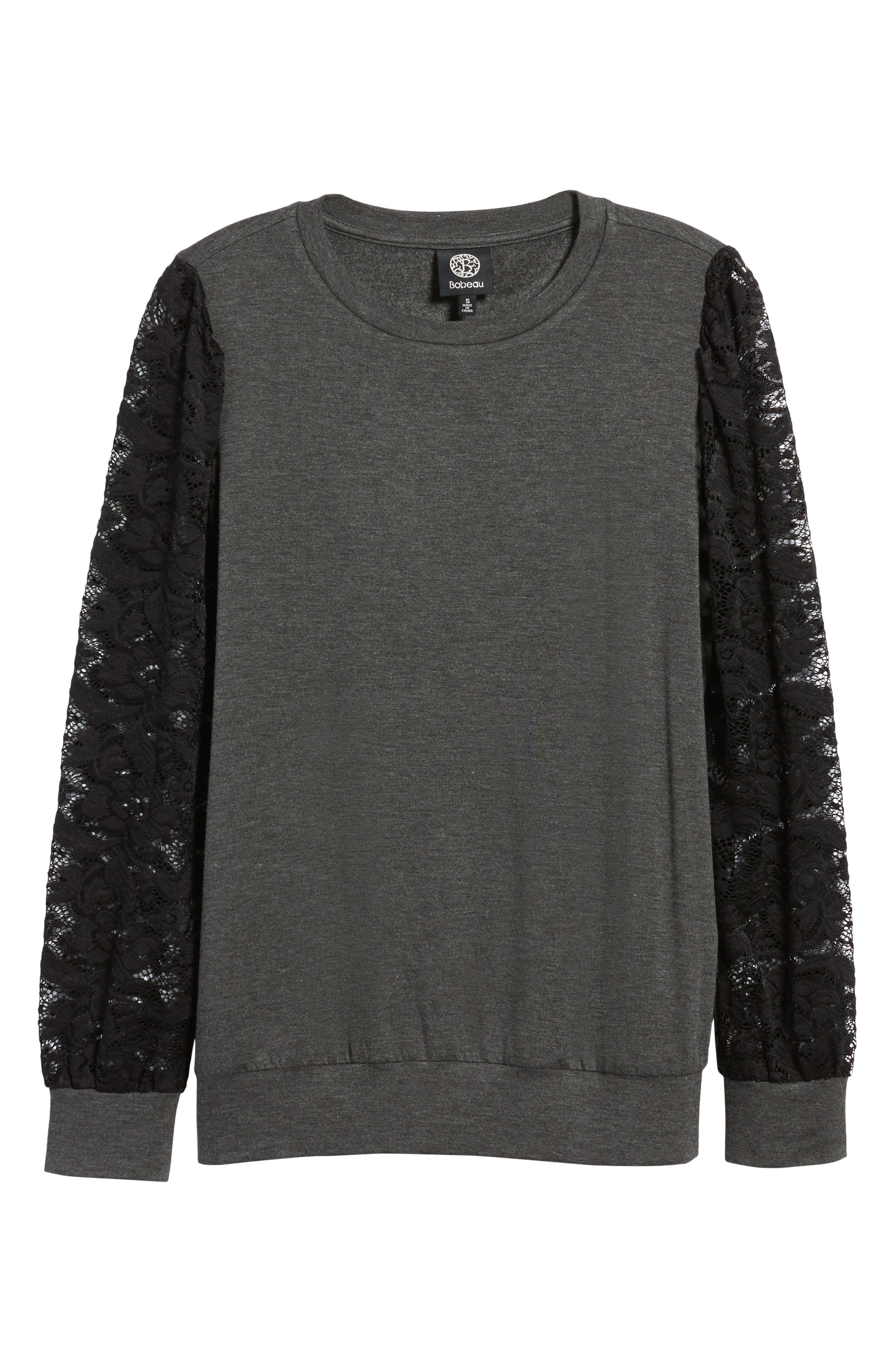 Lace Sleeve Sweatshirt,                             Alternate thumbnail 6, color,                             Dark Charcoal