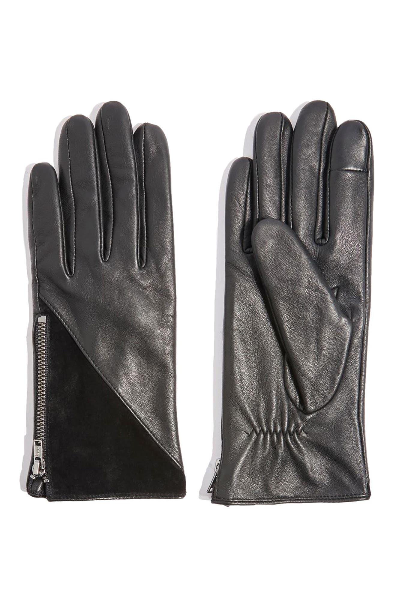 Core Leather Gloves,                         Main,                         color, Black