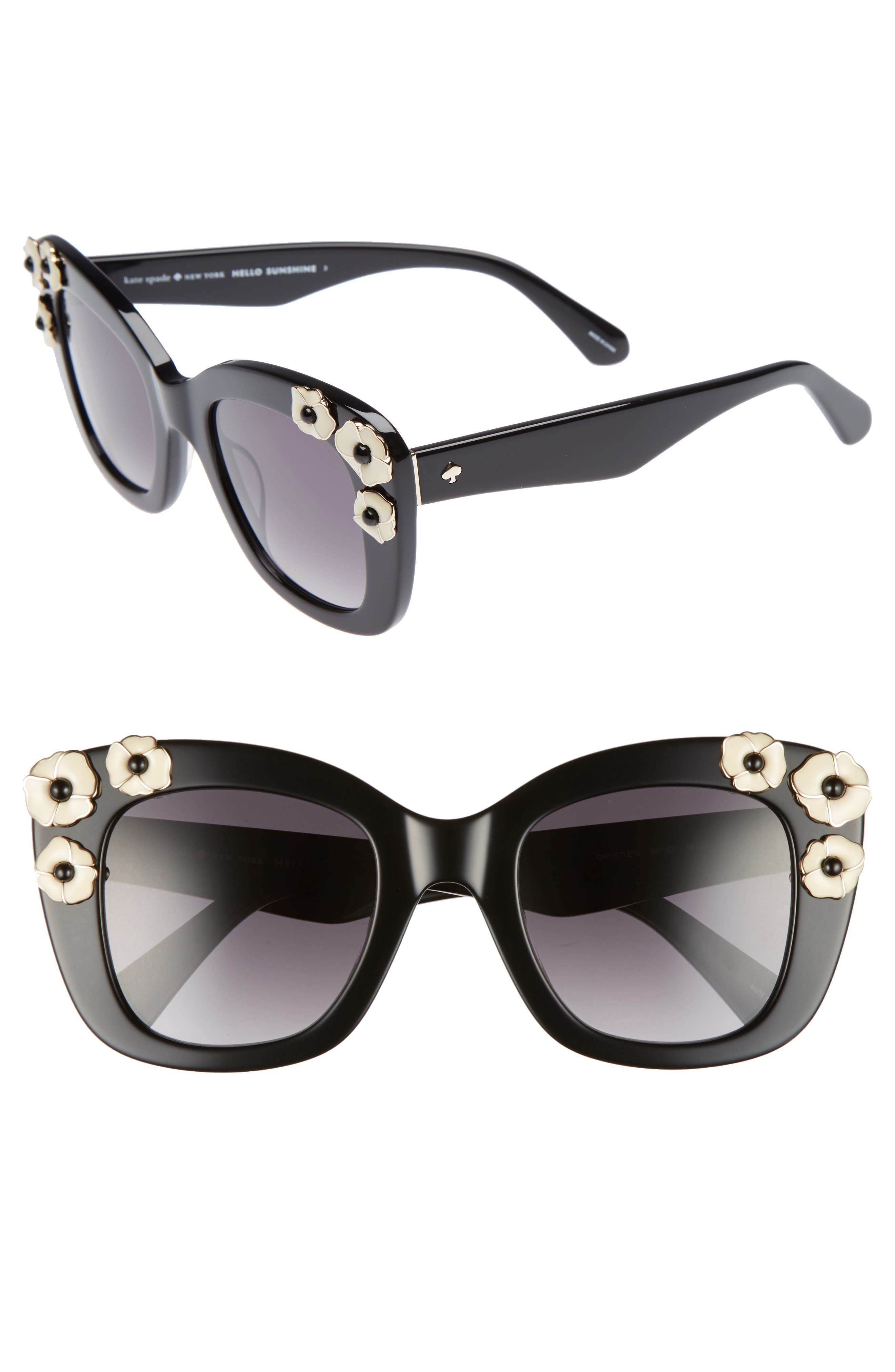 kate spade drystle 49mm floral embellished square sunglasses,                             Main thumbnail 1, color,                             Black