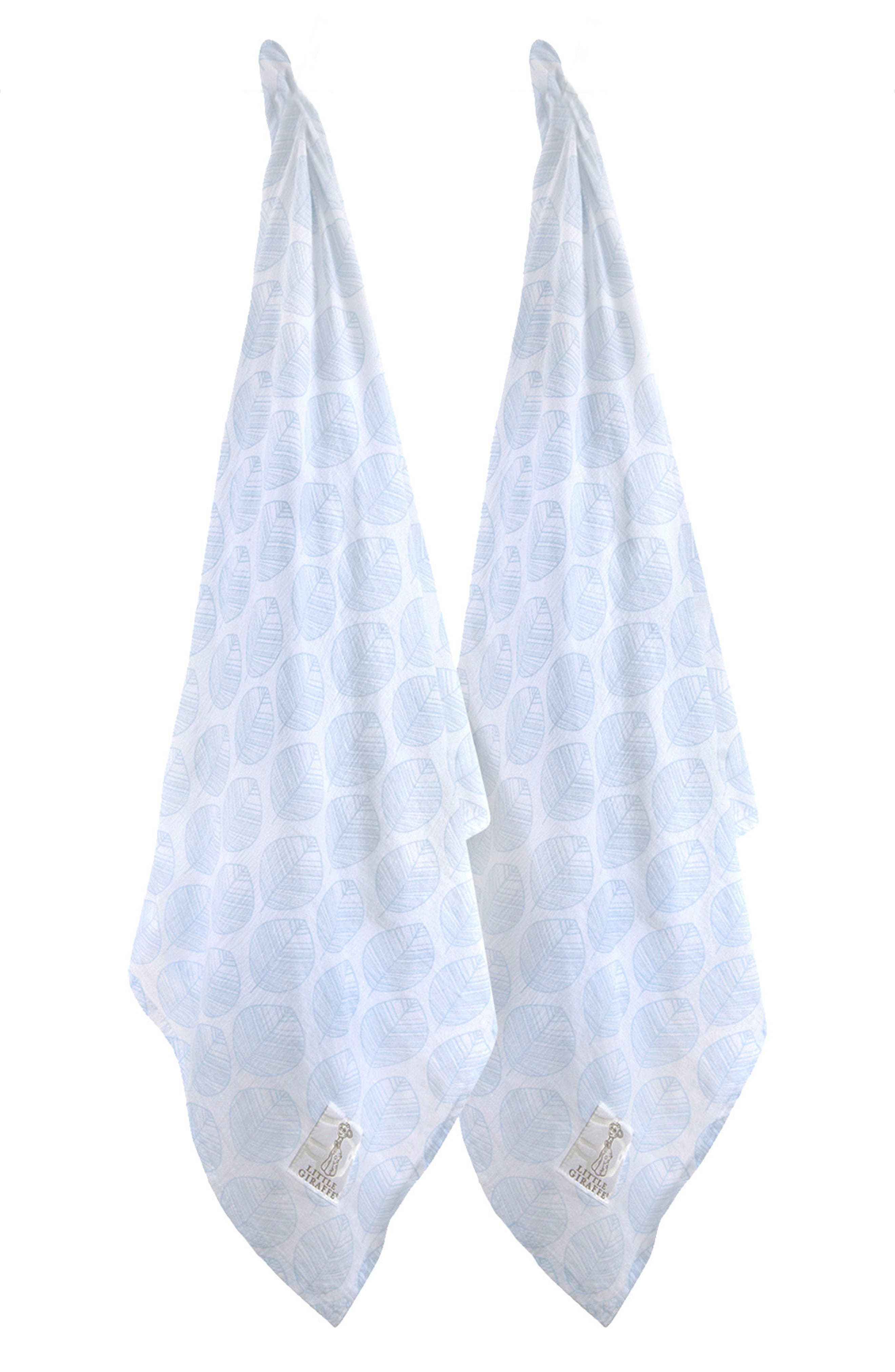 Leaf Set of 2 Swaddling Cloths,                         Main,                         color, Blue