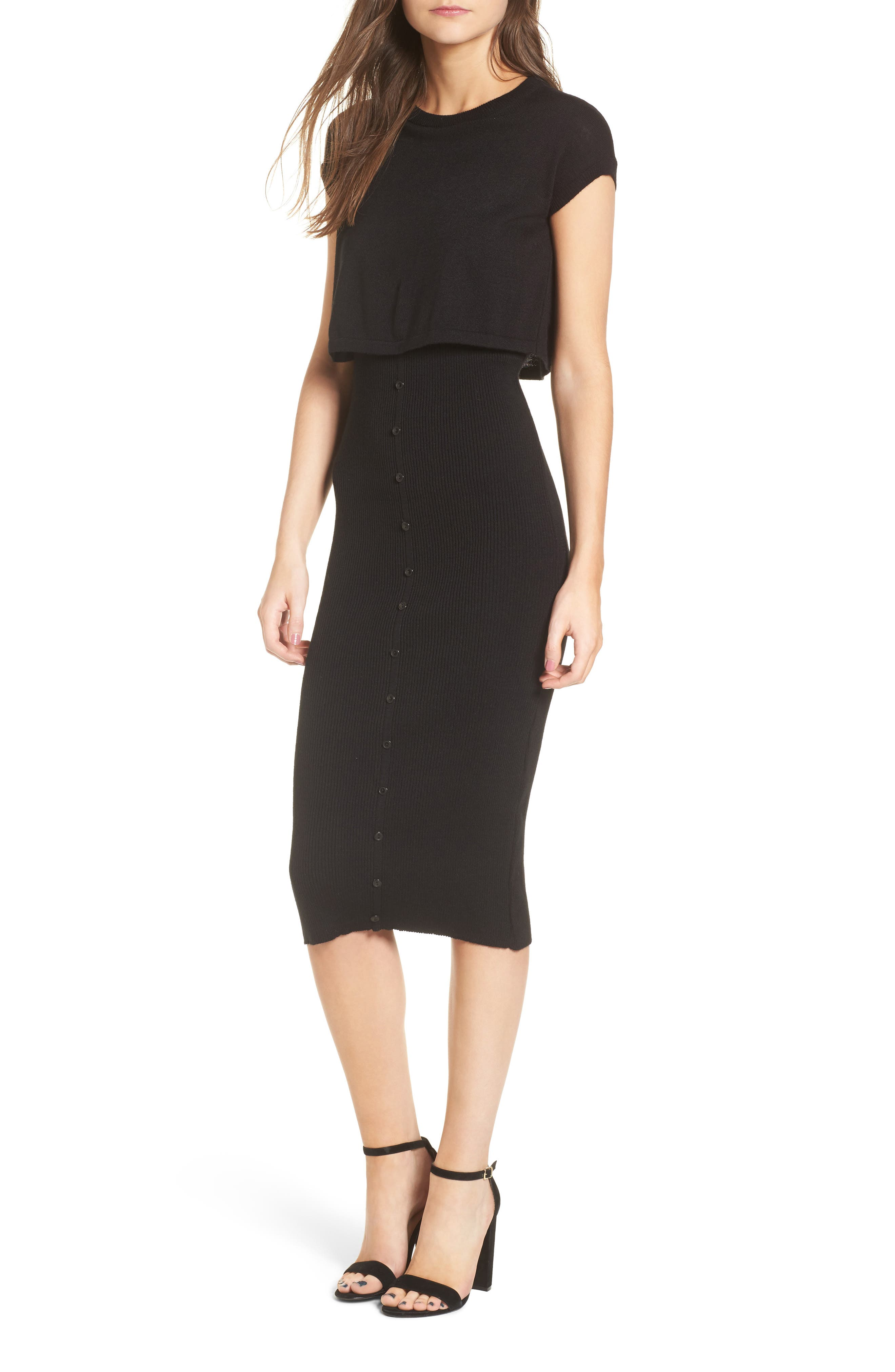 LOST INK Double Layer Body-Con Dress