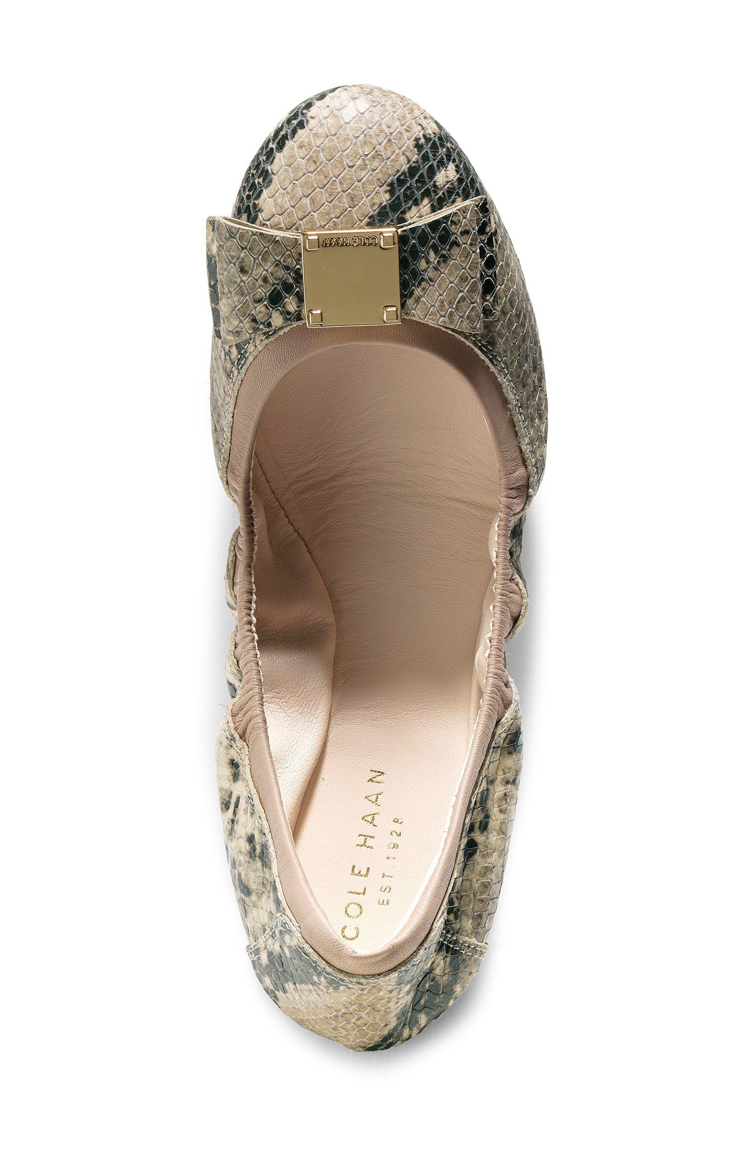 'Tali' Bow Ballet Flat,                             Alternate thumbnail 4, color,                             Roccia Snake Print Leather
