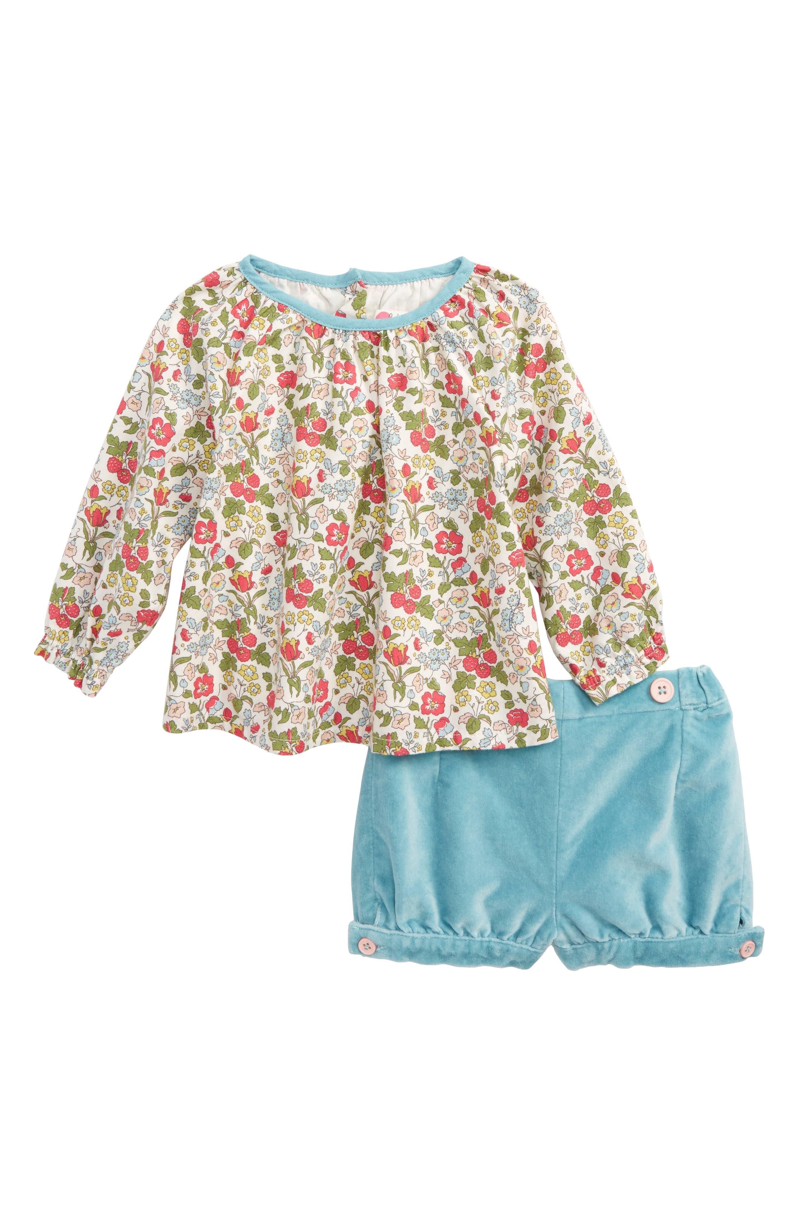 Mini Boden Pretty Woven Top & Velvet Bloomers Play Set (Baby Girls & Toddler Girls)