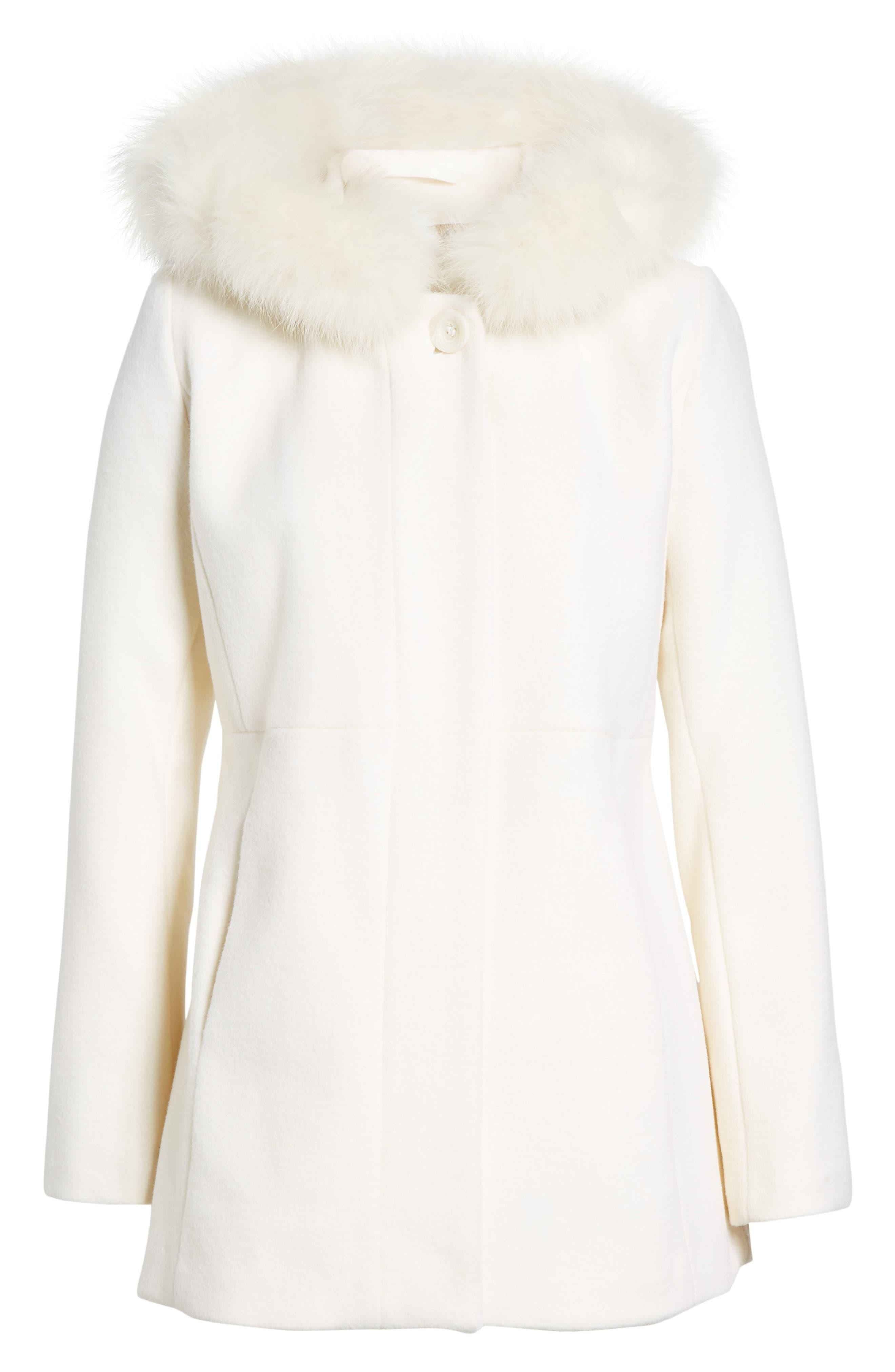 Genuine Fox Fur Trim Hooded Wool Blend Coat,                         Main,                         color, Ivory