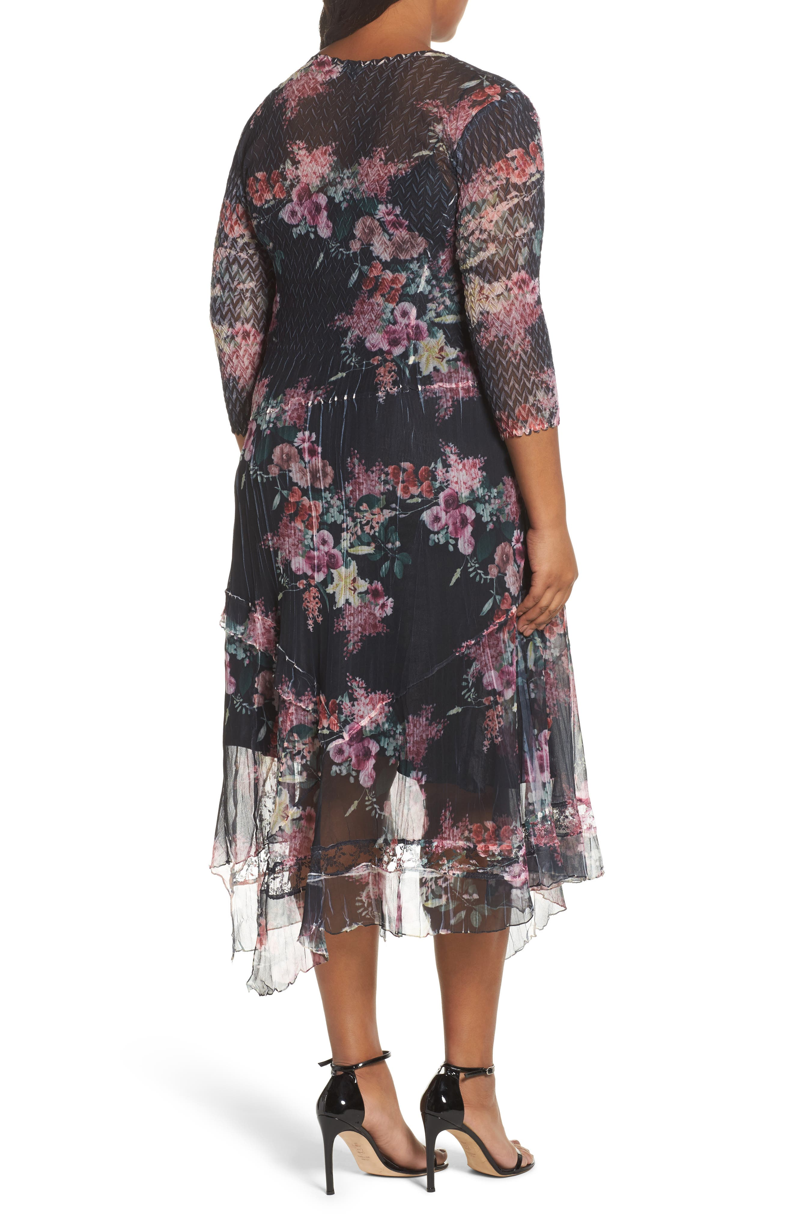 Floral Charmeuse & Chiffon A-Line Dress,                             Alternate thumbnail 2, color,                             Evening Garden