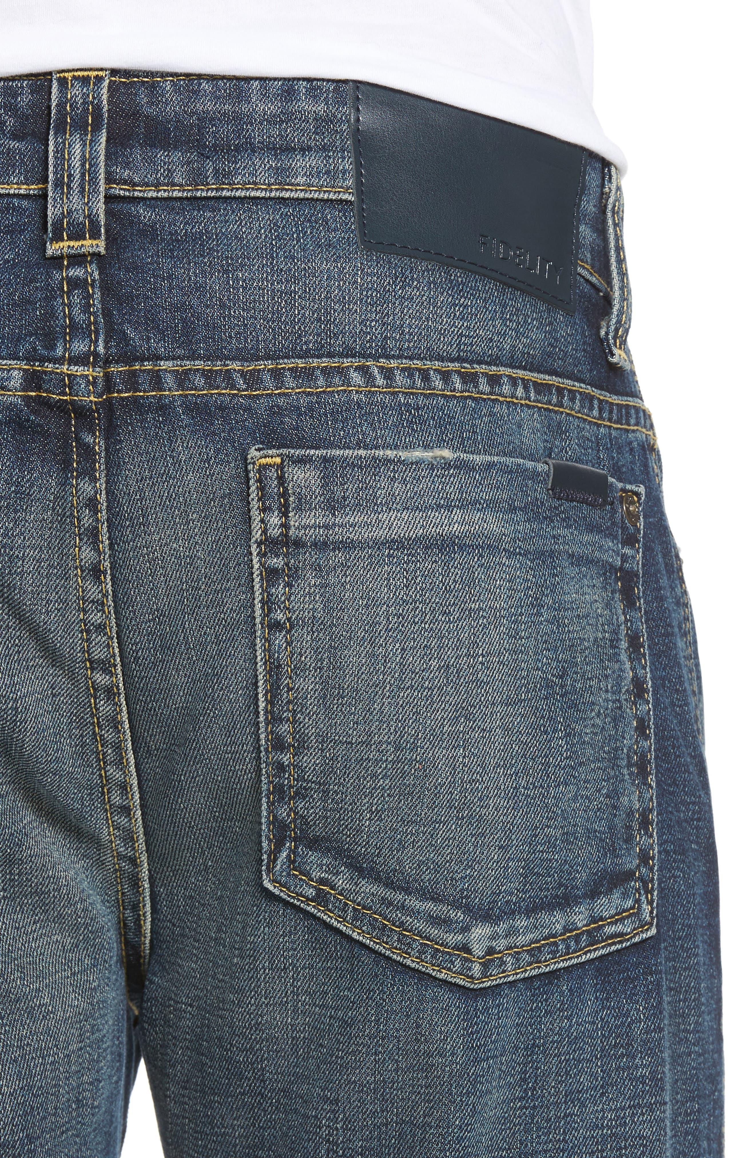 Fideltiy Denim Torino Slim Fit Jeans,                             Alternate thumbnail 4, color,                             Crystal Blue
