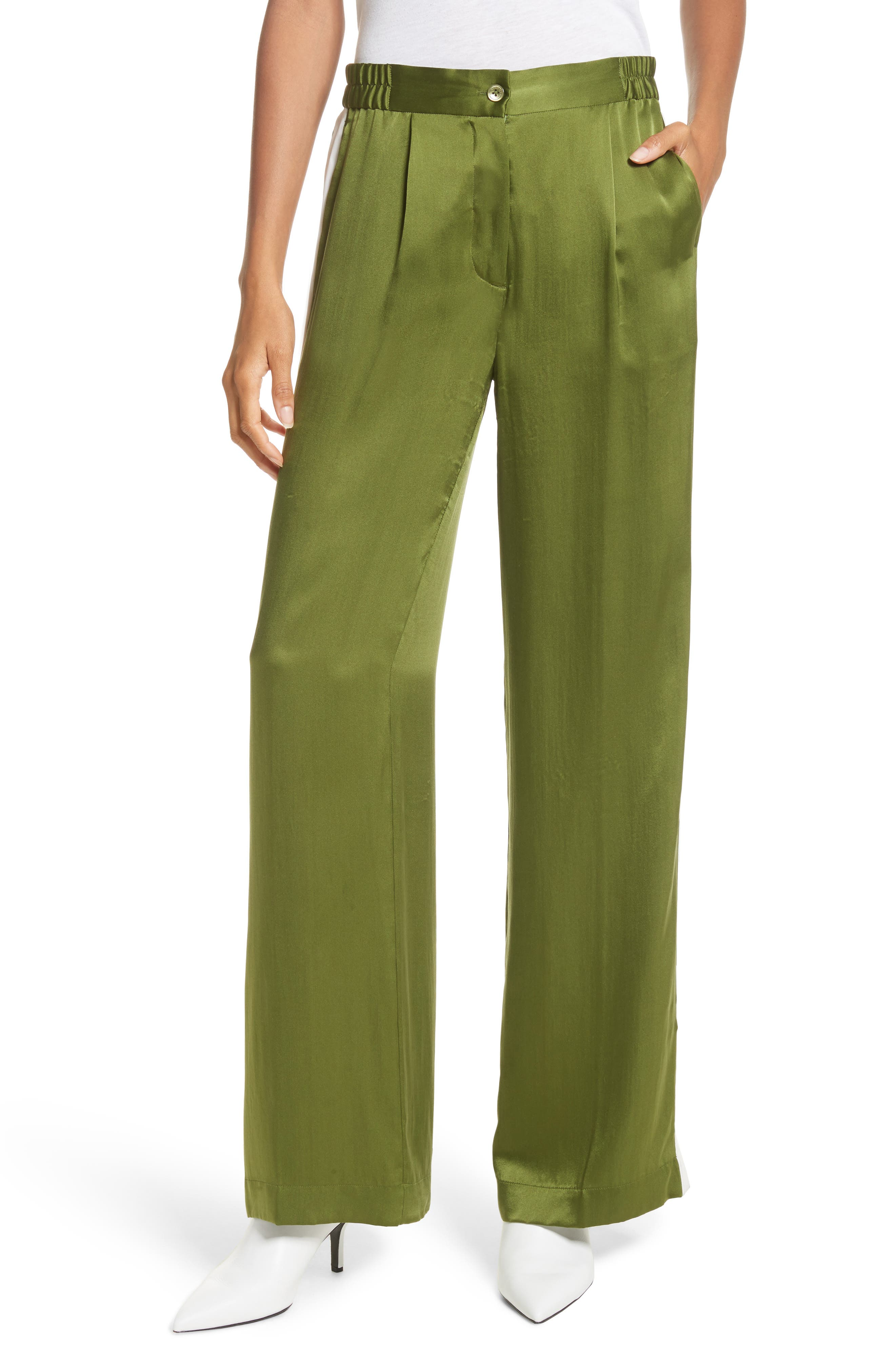 Arwen Wide Leg Silk Pants,                             Main thumbnail 1, color,                             Combat Green