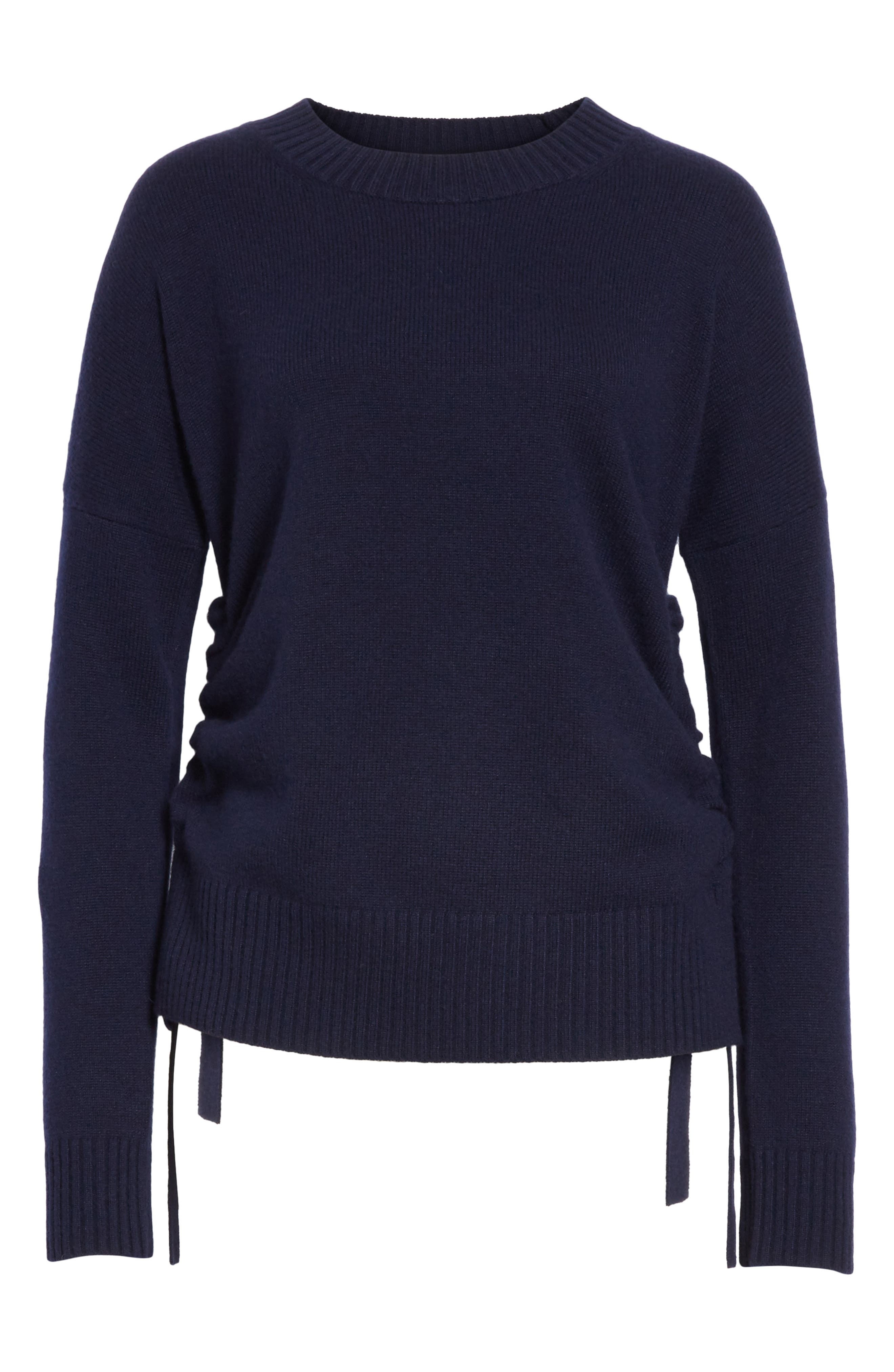 Side Tie Cashmere Sweater,                             Alternate thumbnail 6, color,                             Midnight