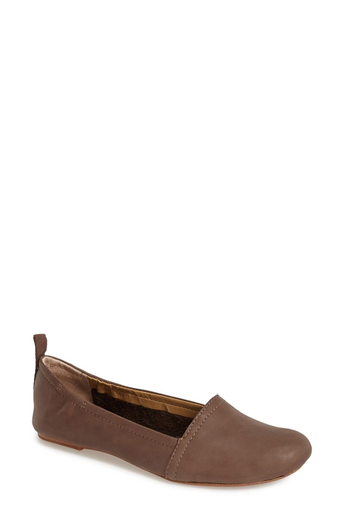 'Bettie' Leather Flat,                             Main thumbnail 1, color,                             Dark Brown