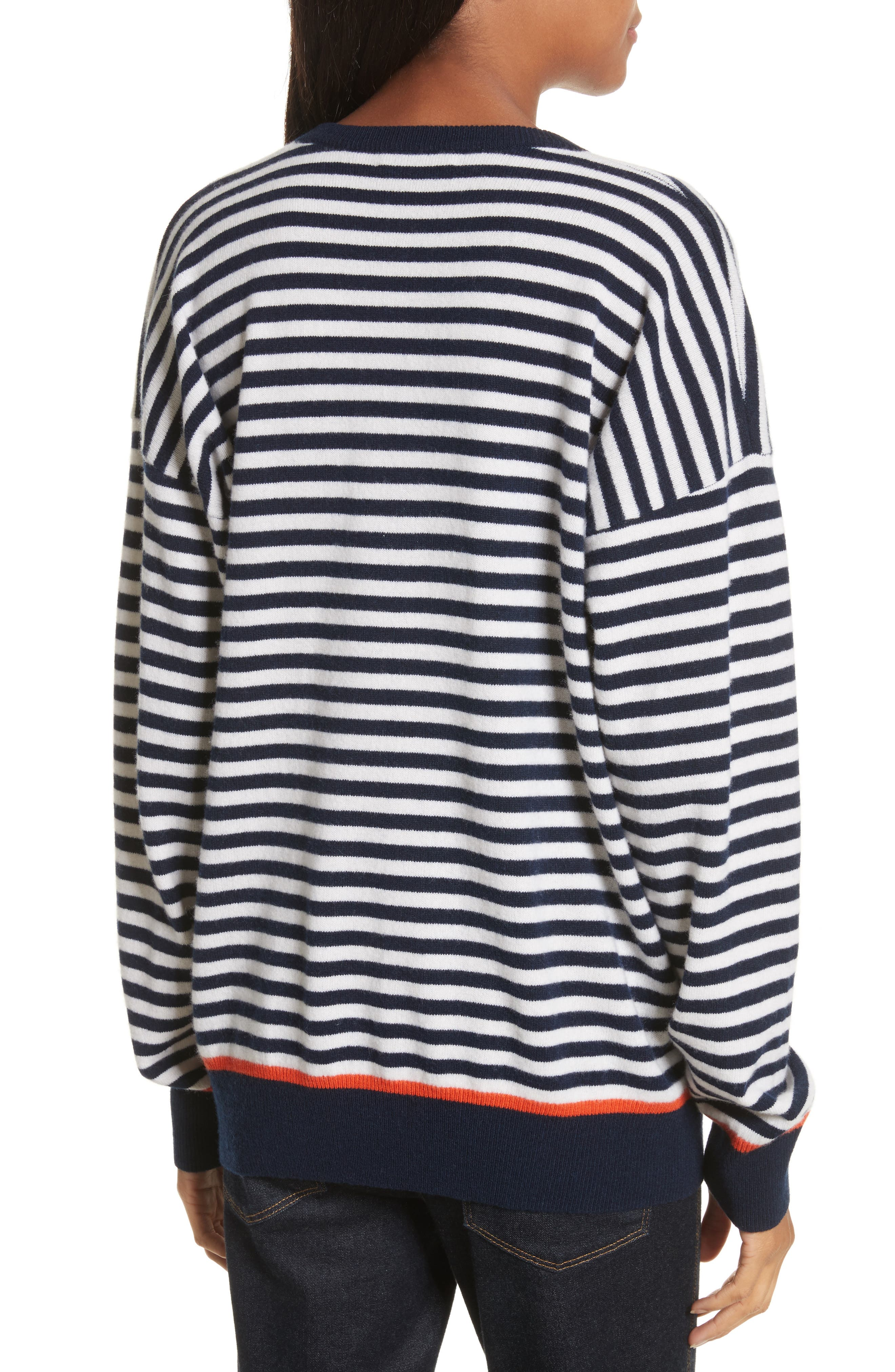 Lucinda Stripe Wool & Cashmere Sweater,                             Alternate thumbnail 2, color,                             Peacoat Multi