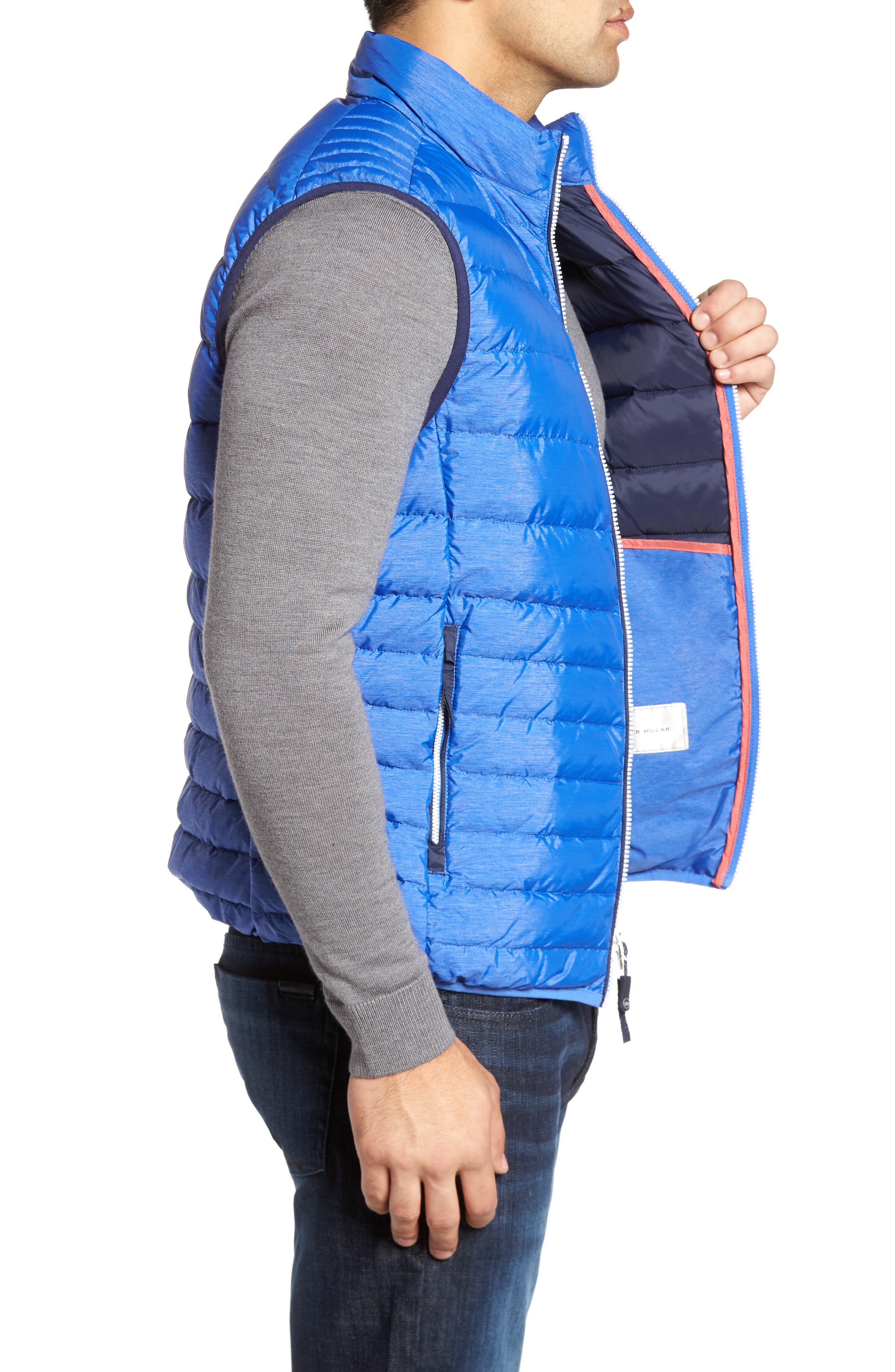 Crown Elite Light Down Vest,                             Alternate thumbnail 3, color,                             Barrier Blue