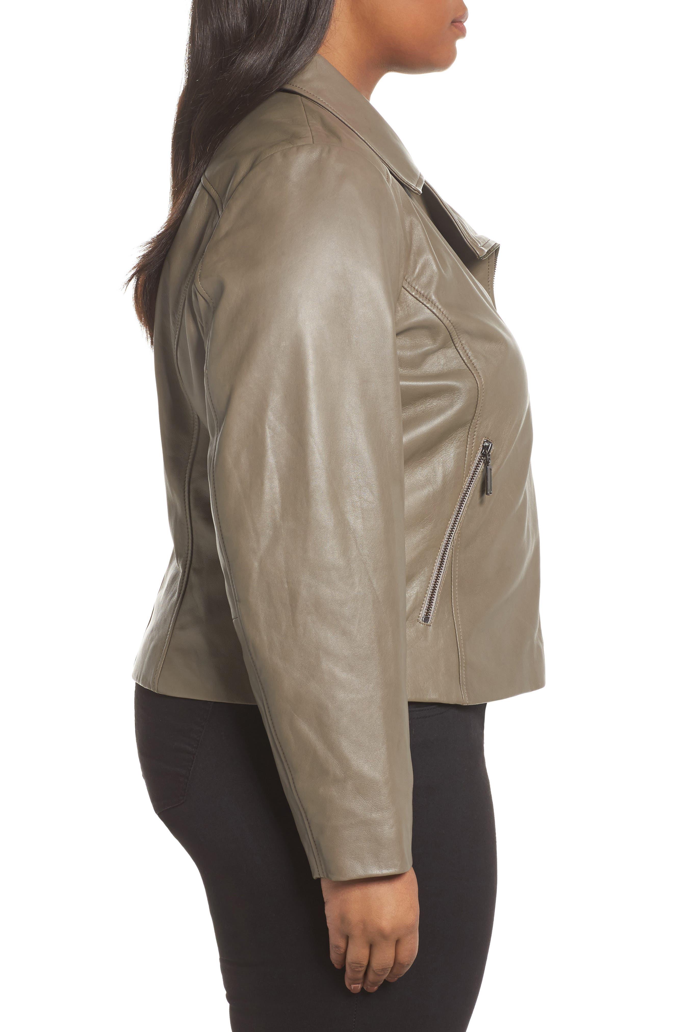 Alternate Image 3  - Halogen® Leather Moto Jacket (Plus Size)