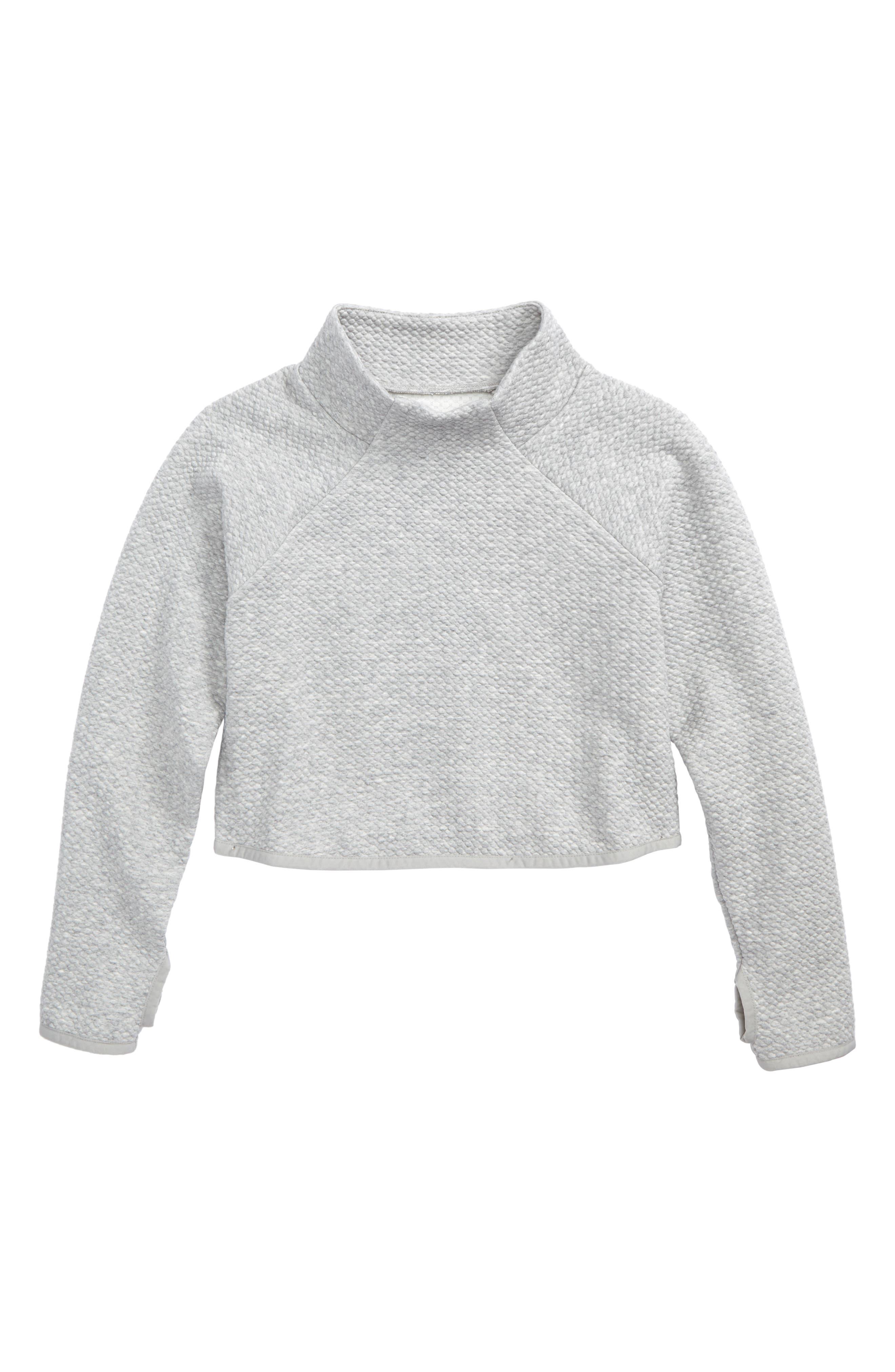 Zella Girl Mock Neck Scuba Sweatshirt (Little Girls & Big Girls)