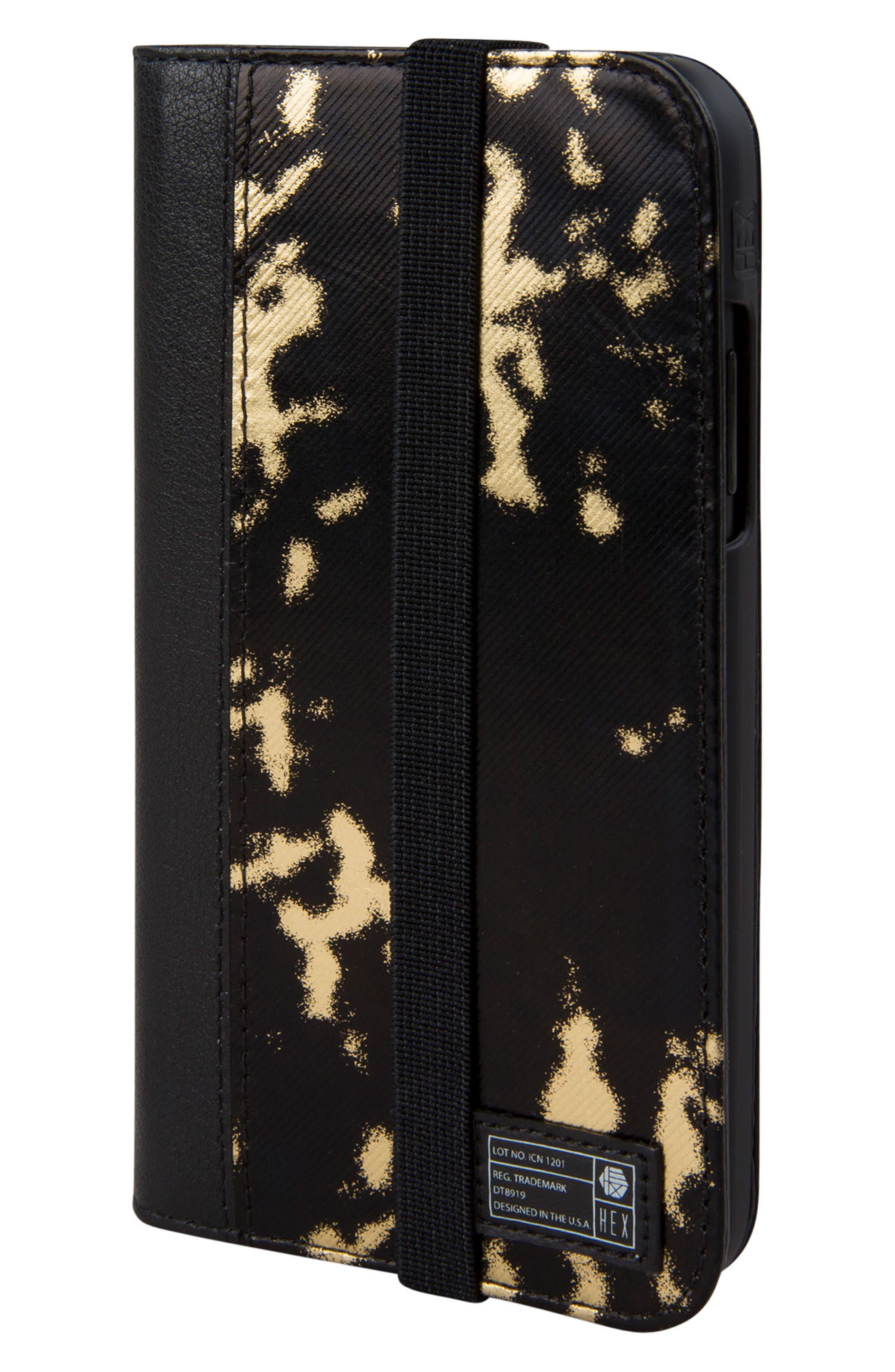 Icon iPhone X Wallet Case,                             Main thumbnail 1, color,                             Black/ Gold