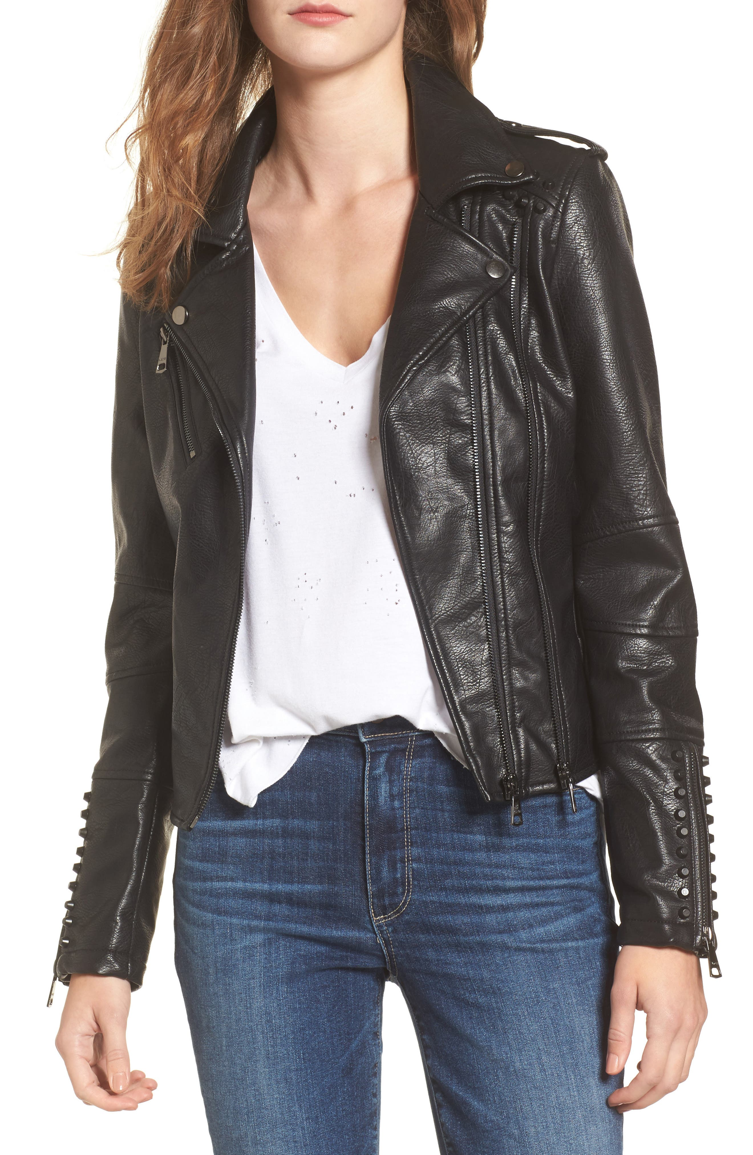 Studded Faux Leather Moto Jacket,                             Main thumbnail 1, color,                             Black