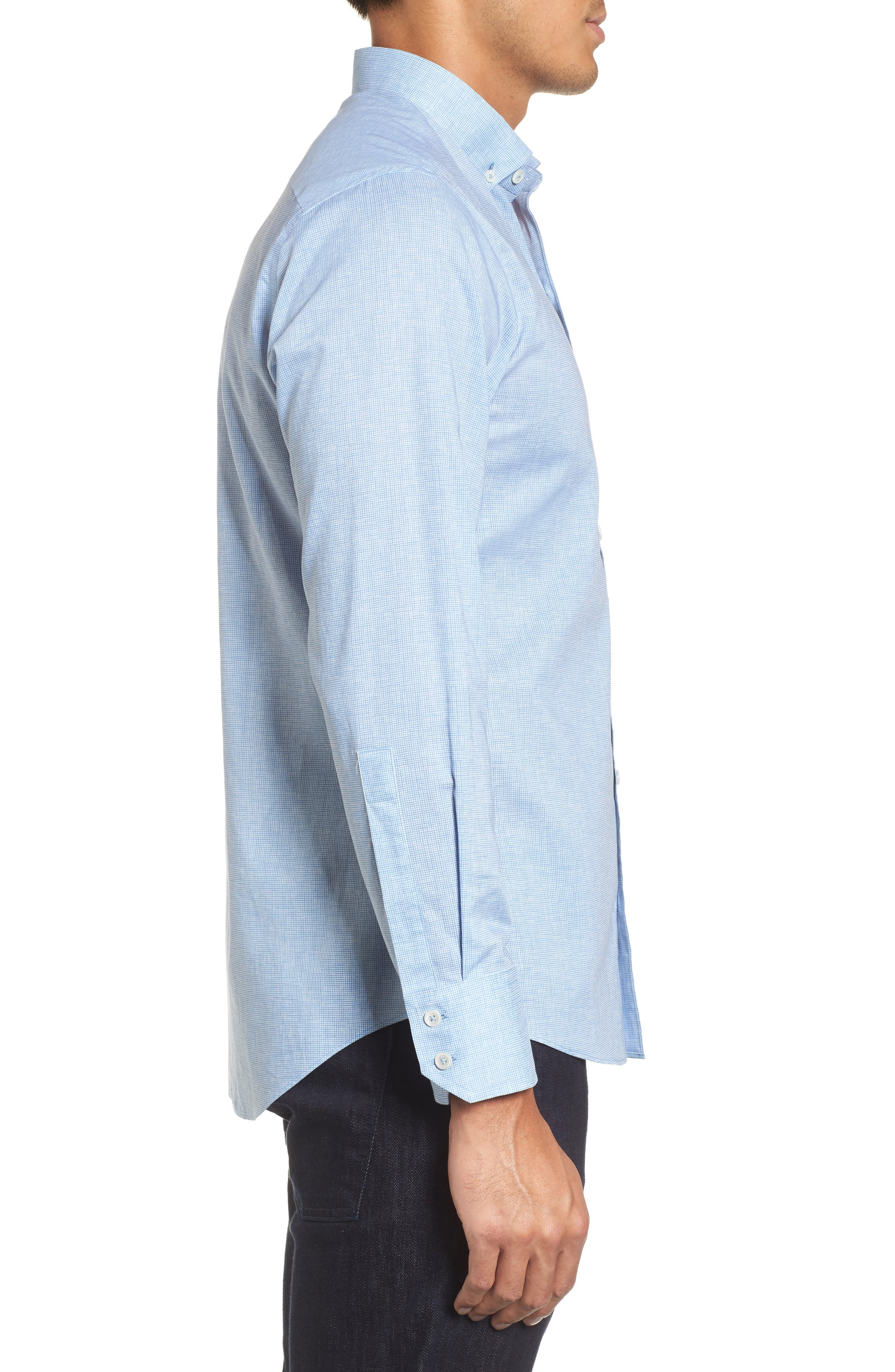 Forrest Textured Woven Sport Shirt,                             Alternate thumbnail 3, color,                             Ice Blue