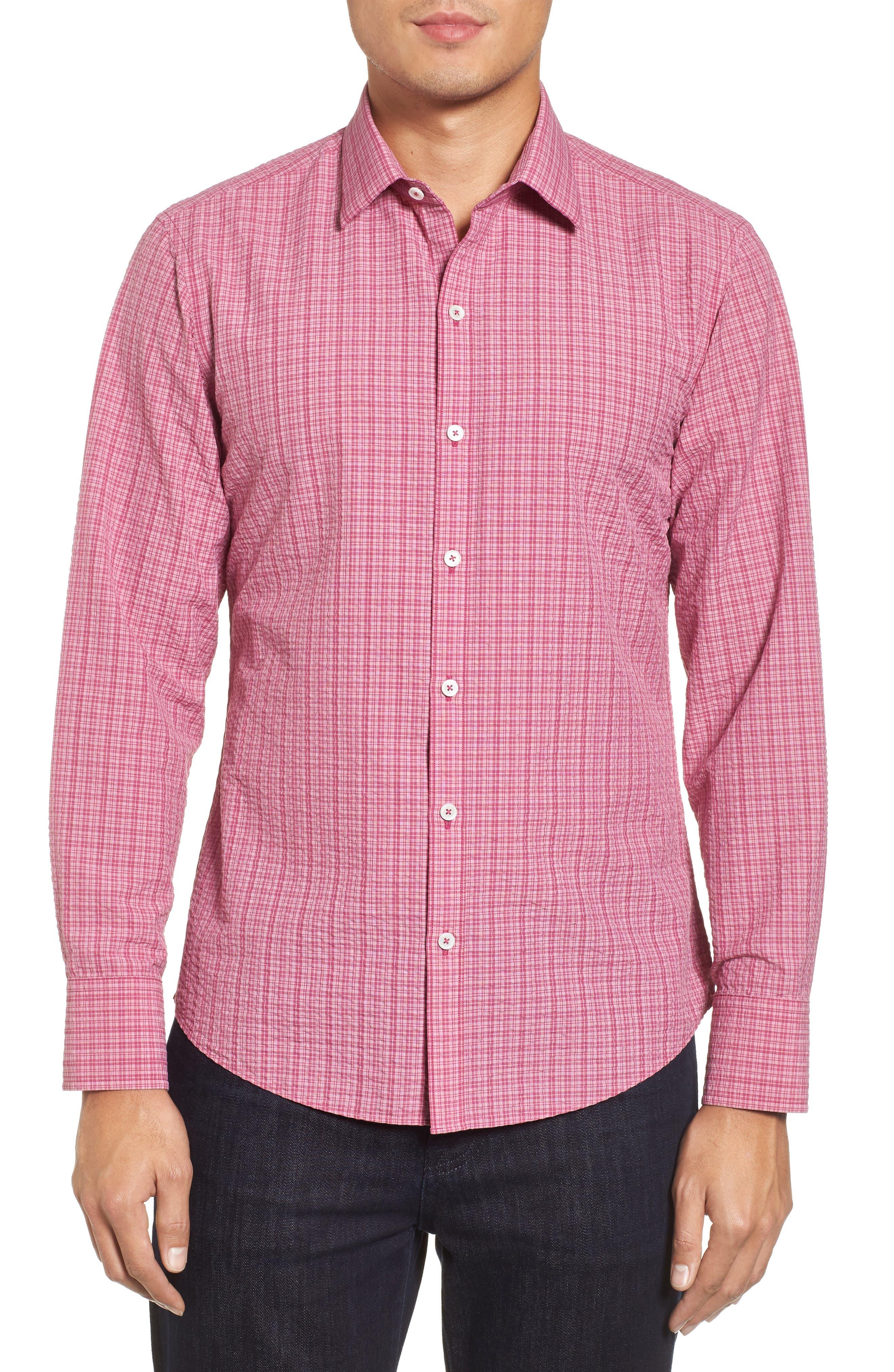 Italo Seersucker Woven Sport Shirt,                             Main thumbnail 1, color,                             Dark Pink