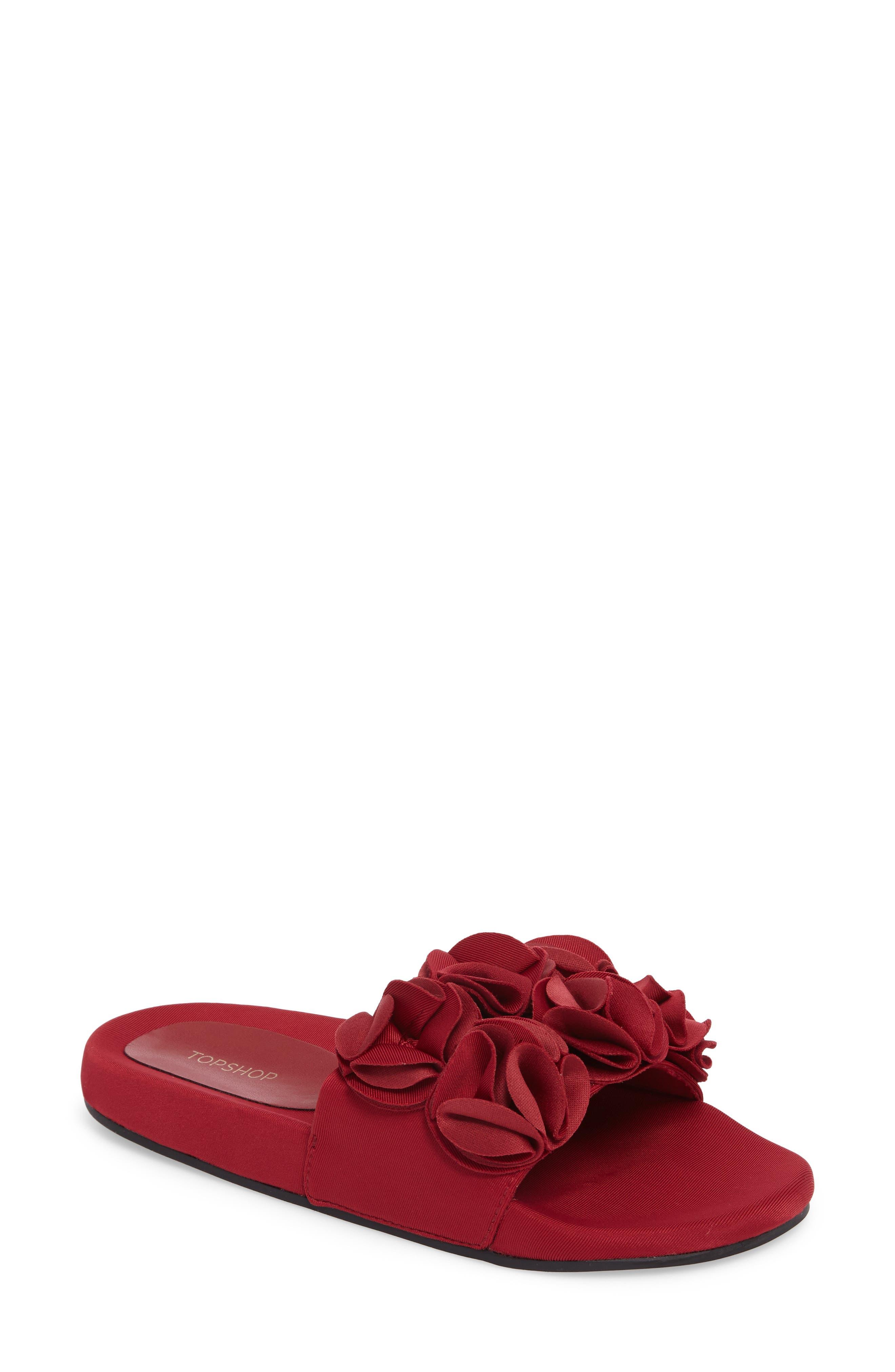 Topshop Hewitt Ruffle Slide Sandal (Women)