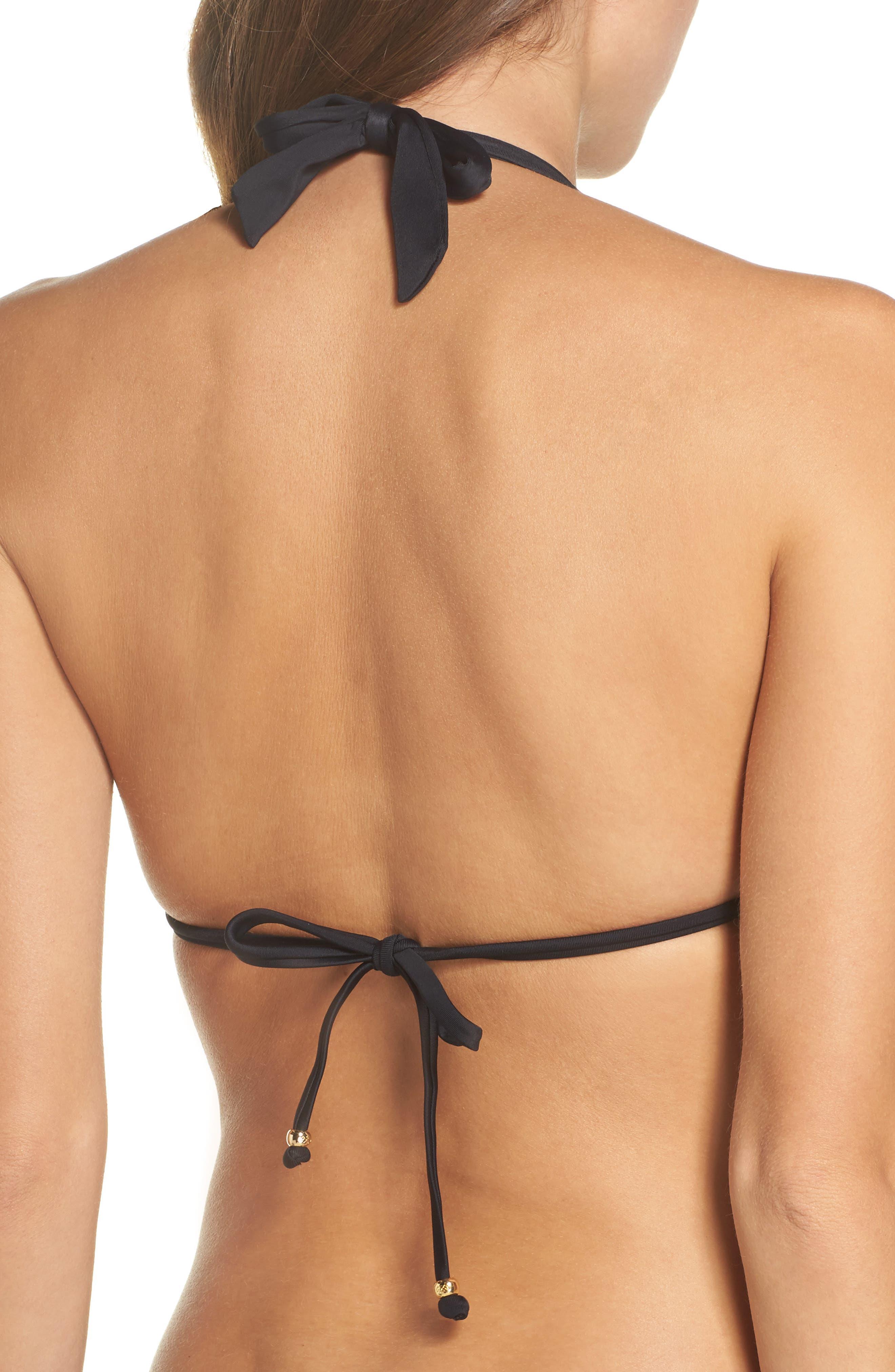 Halter Lace Bikini Top,                             Alternate thumbnail 2, color,                             Midnight