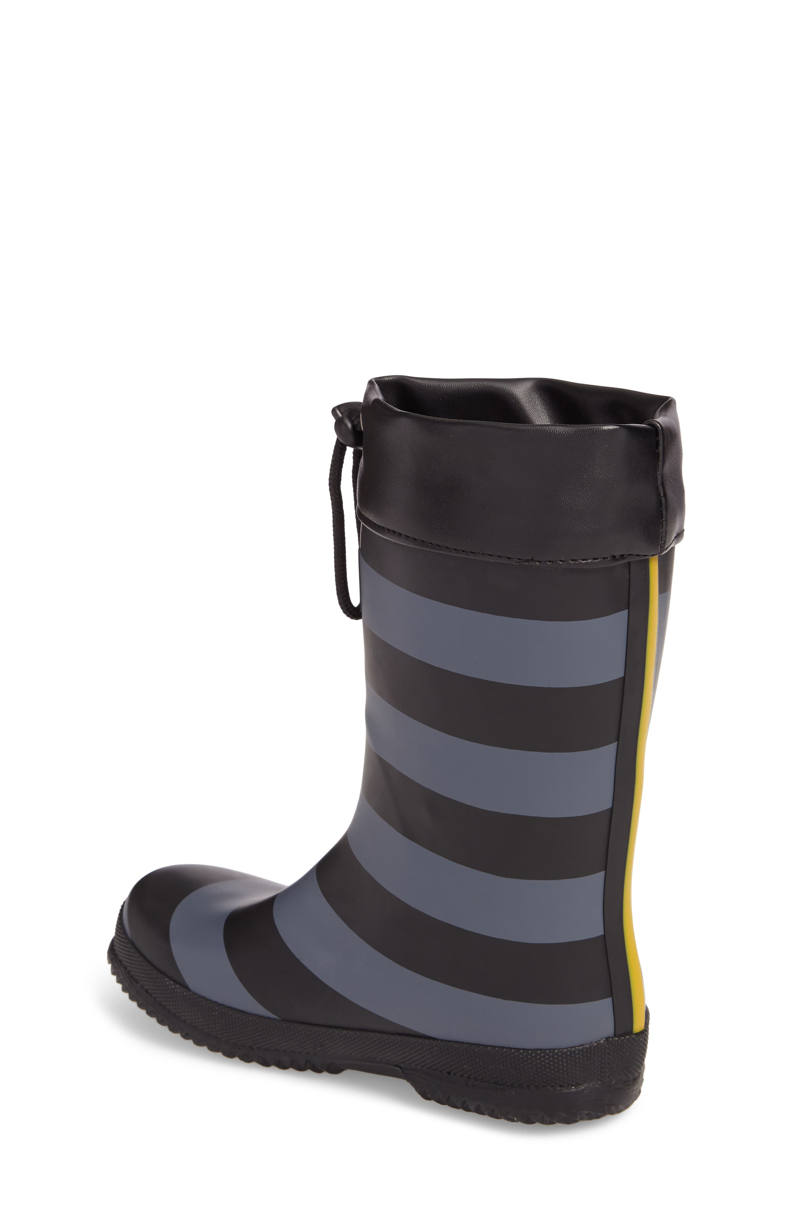 Winter Waterproof Rain Boot,                             Alternate thumbnail 2, color,                             Black Stripe