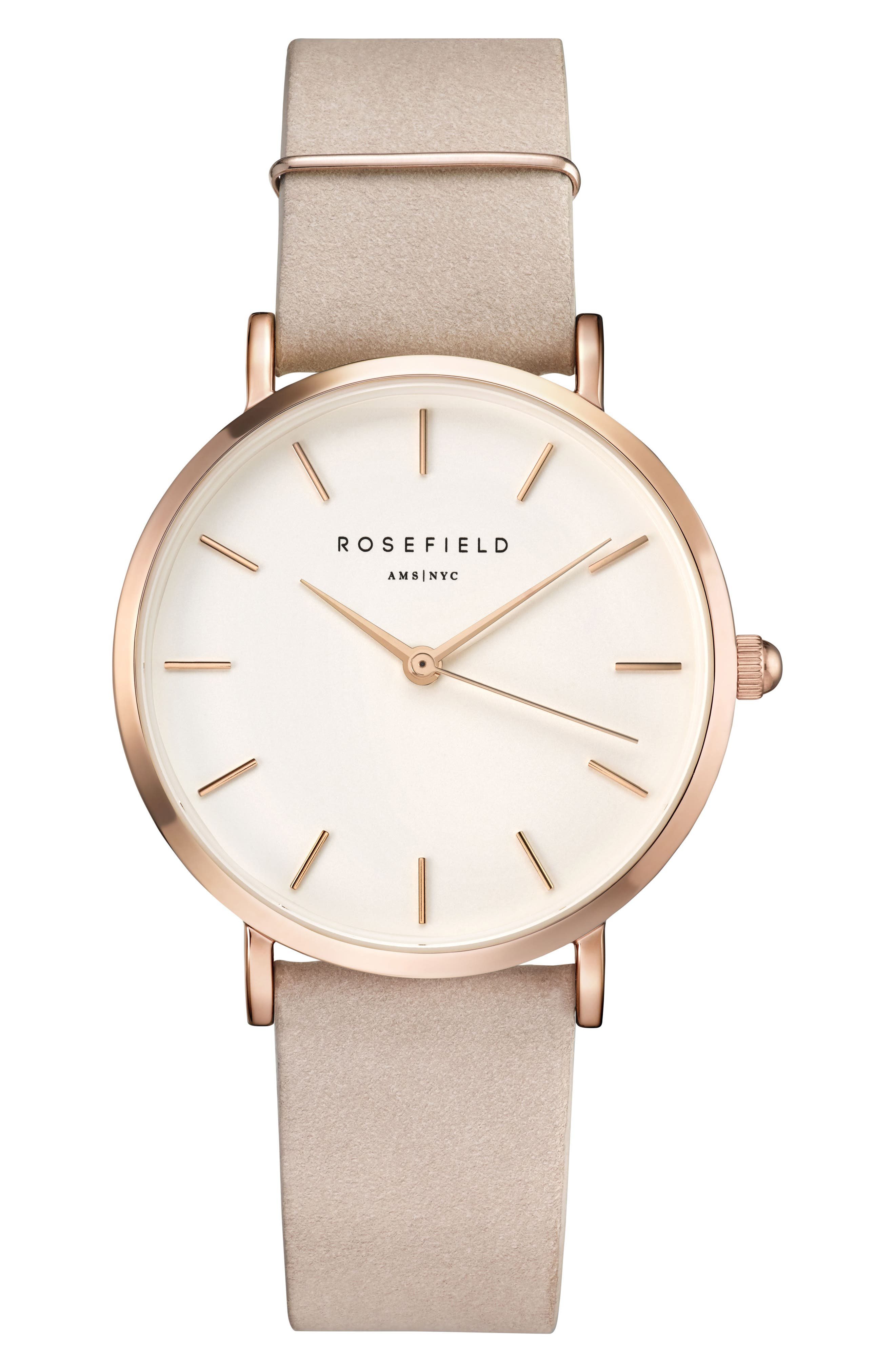 Alternate Image 1 Selected - Rosefield Holiday Leather Strap Watch & Bracelet Gift Set, 33mm