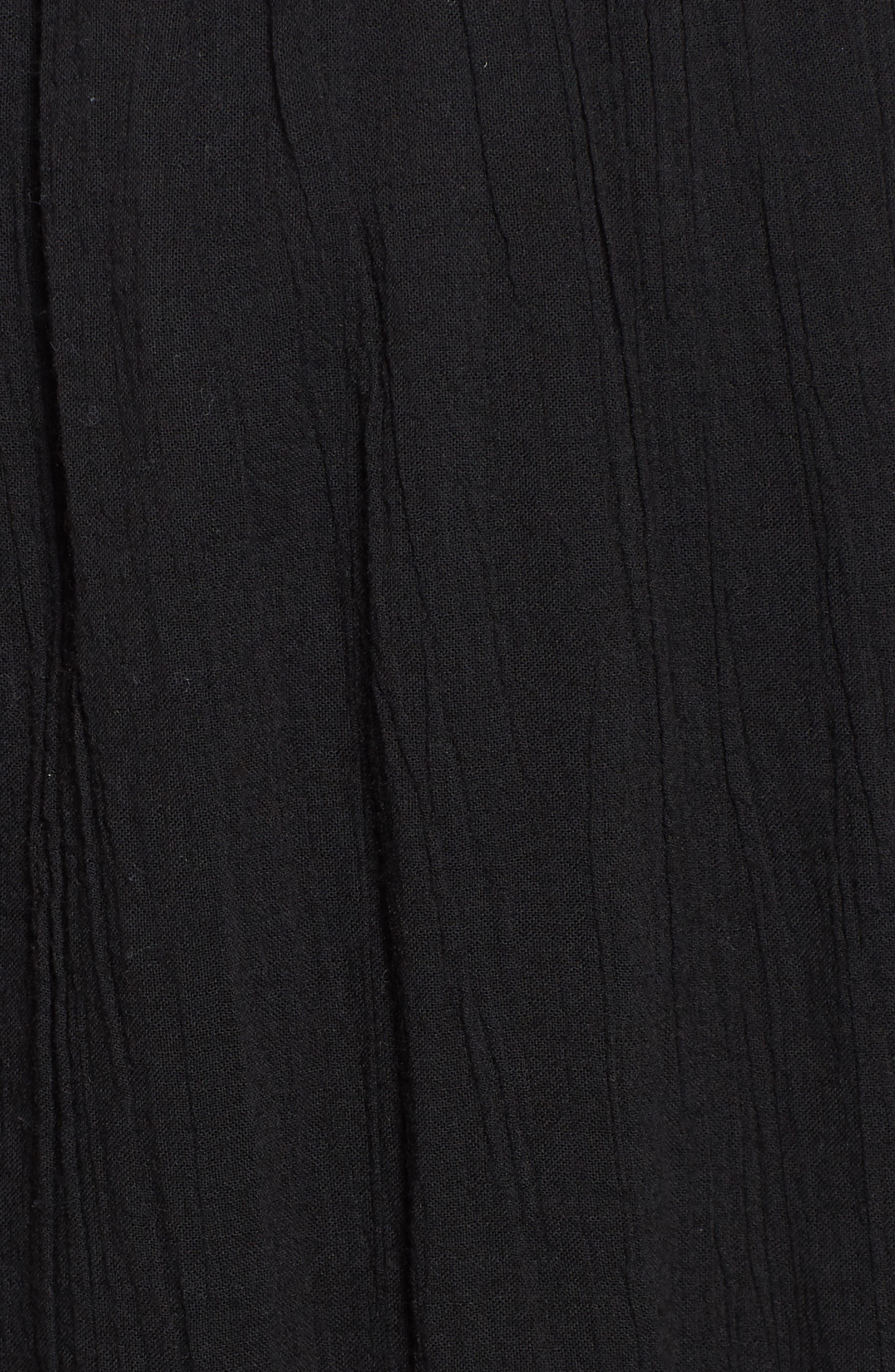 Gauze Midi Skirt,                             Alternate thumbnail 5, color,                             Black