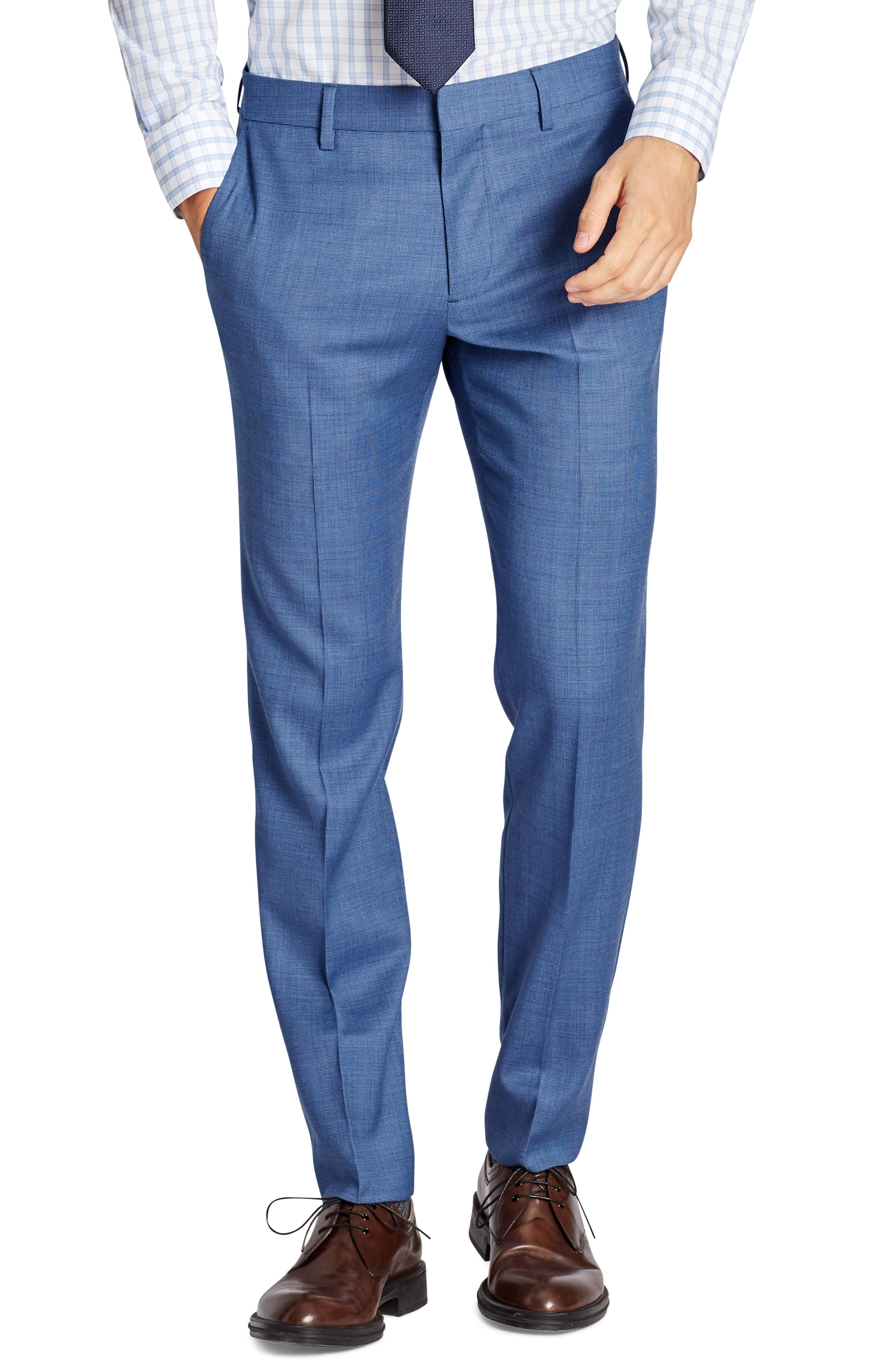Jetsetter Flat Front Solid Stretch Wool Trousers,                         Main,                         color, Brighter Blue
