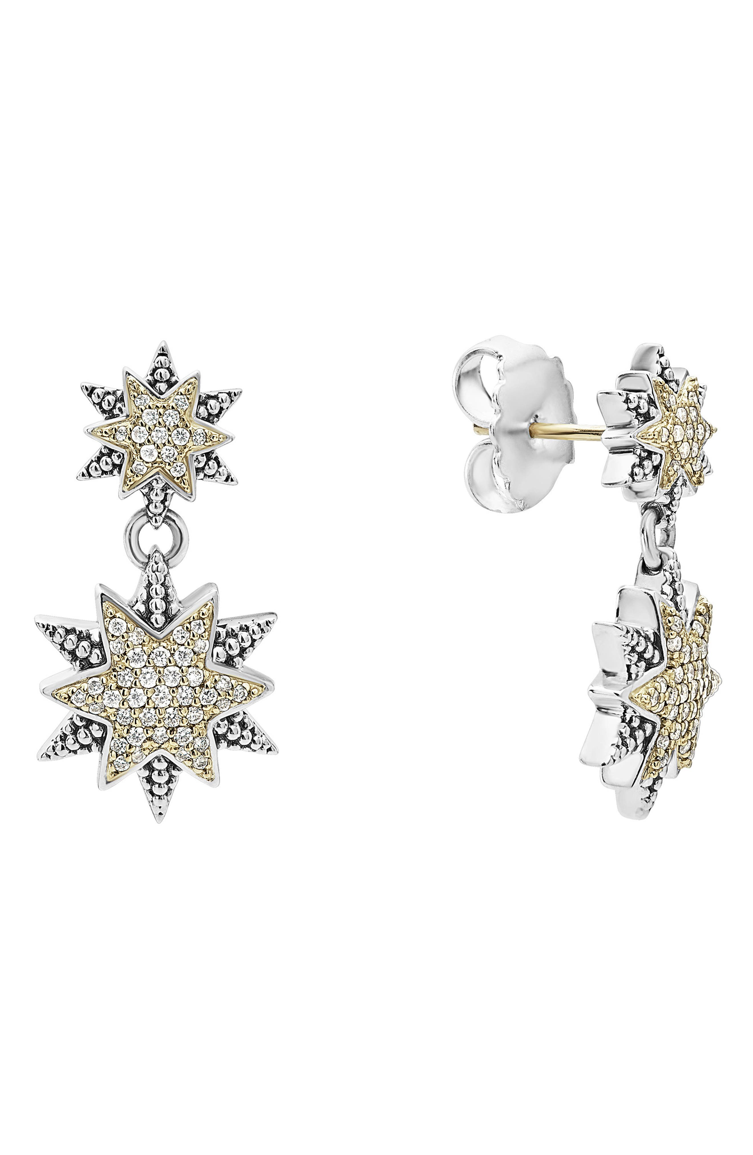 North Star Drop Earrings,                             Alternate thumbnail 3, color,                             Diamond