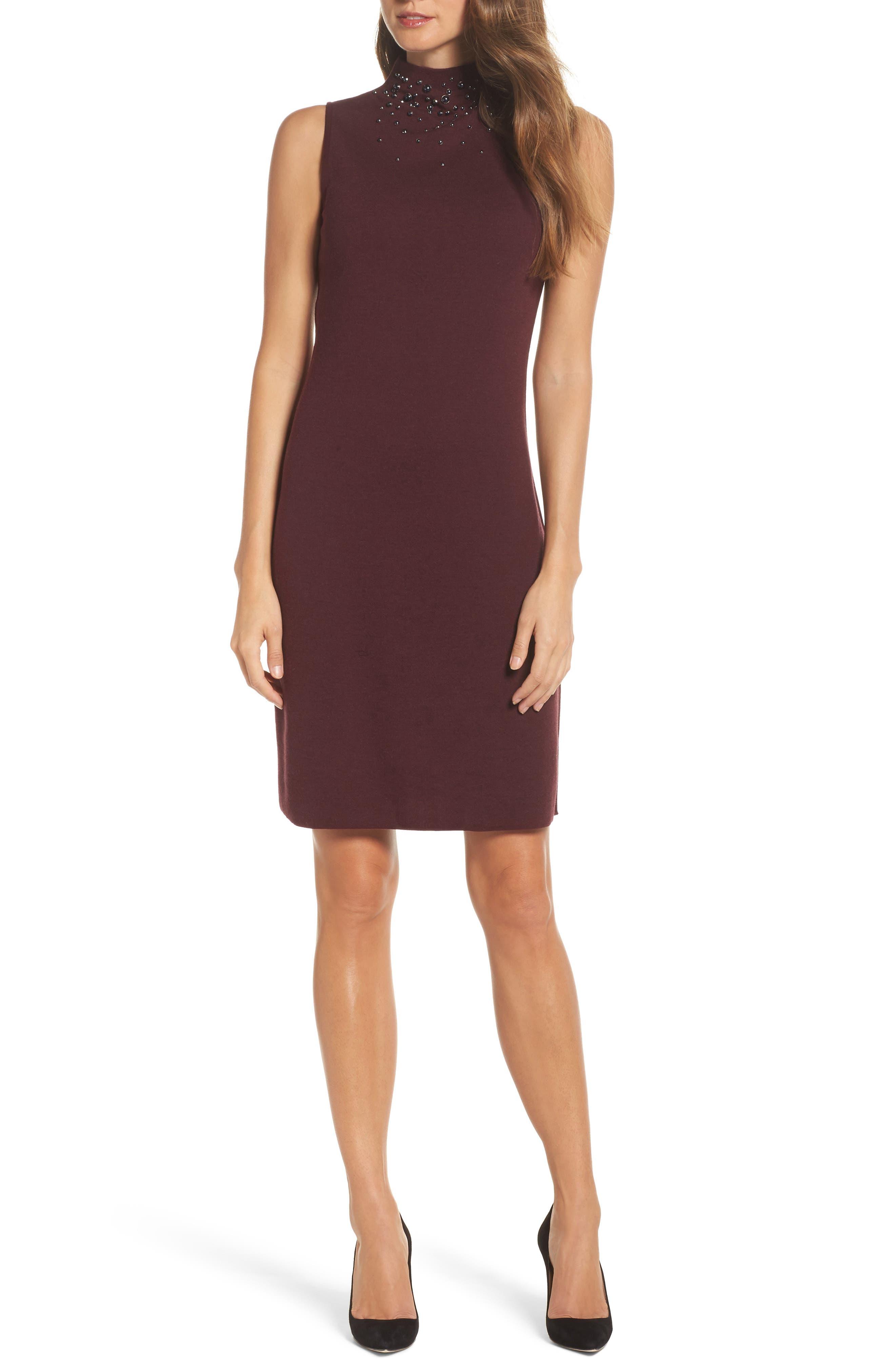 NIC + ZOE Falling Studs Embellished Sheath Dress,                         Main,                         color, Port
