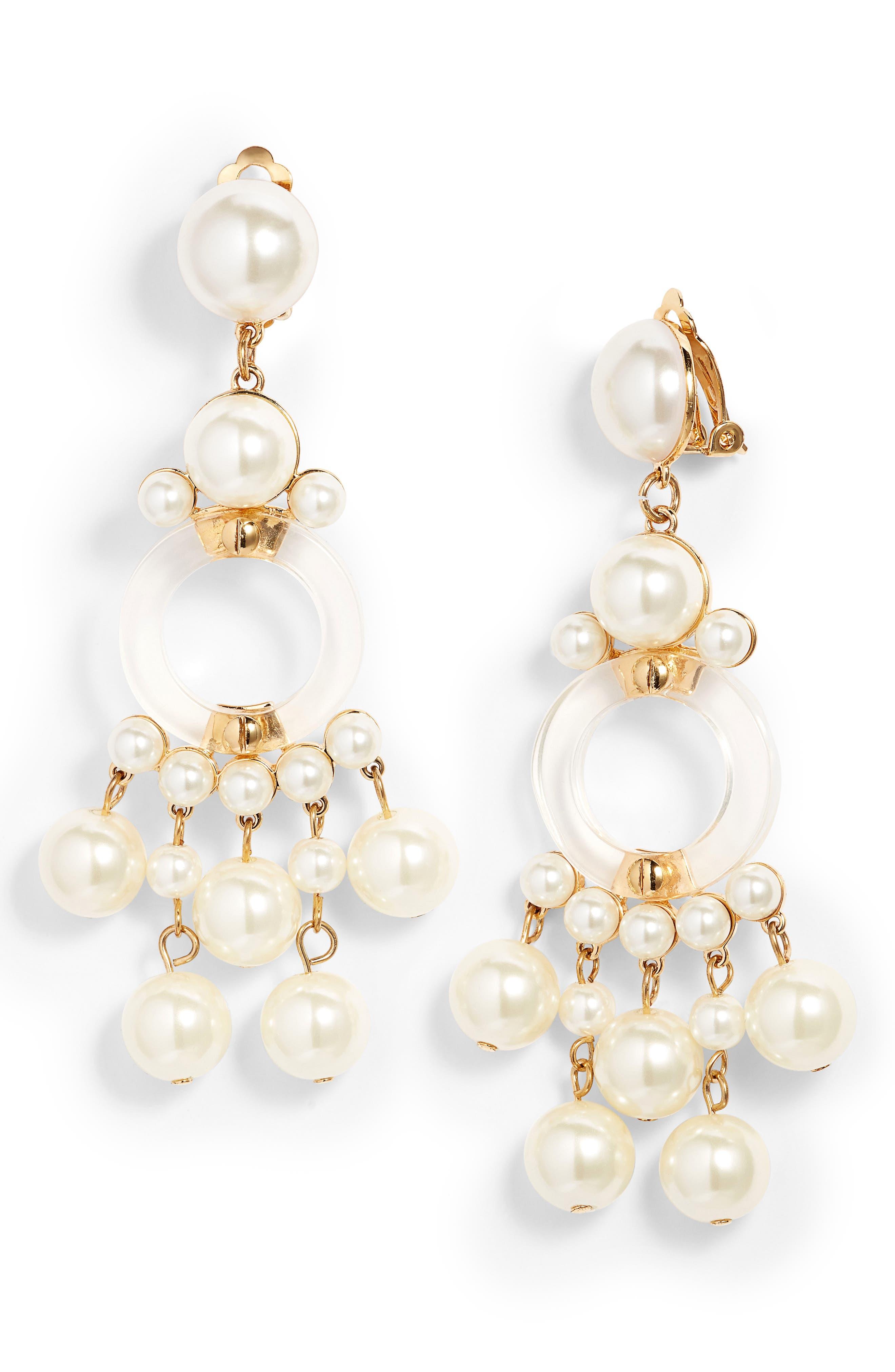 Boulevard Clip Drop Earrings,                             Main thumbnail 1, color,                             Pearl