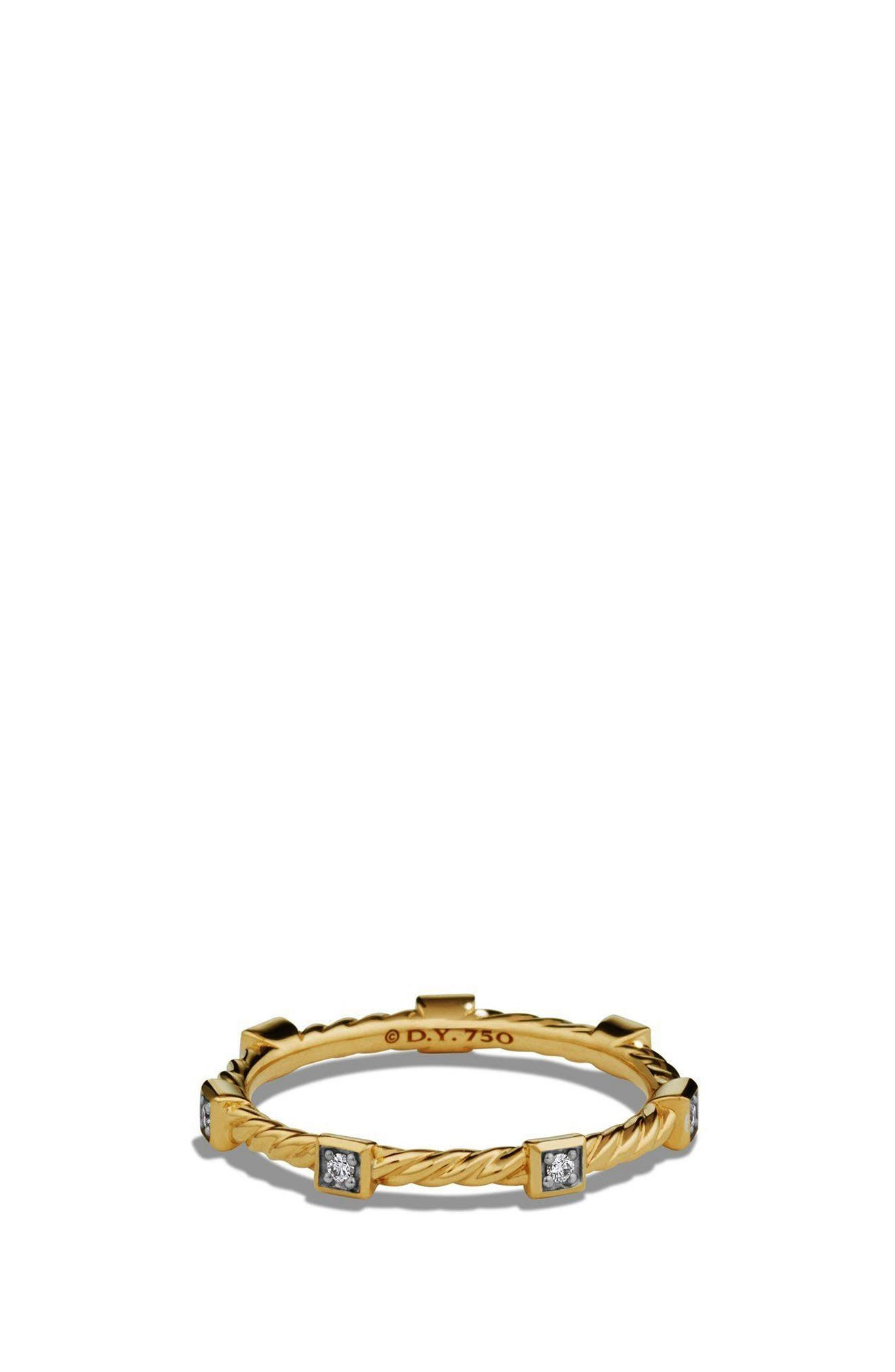 David Yurman Paveflex Ring with Diamonds in 18K Gold, 2.7mm