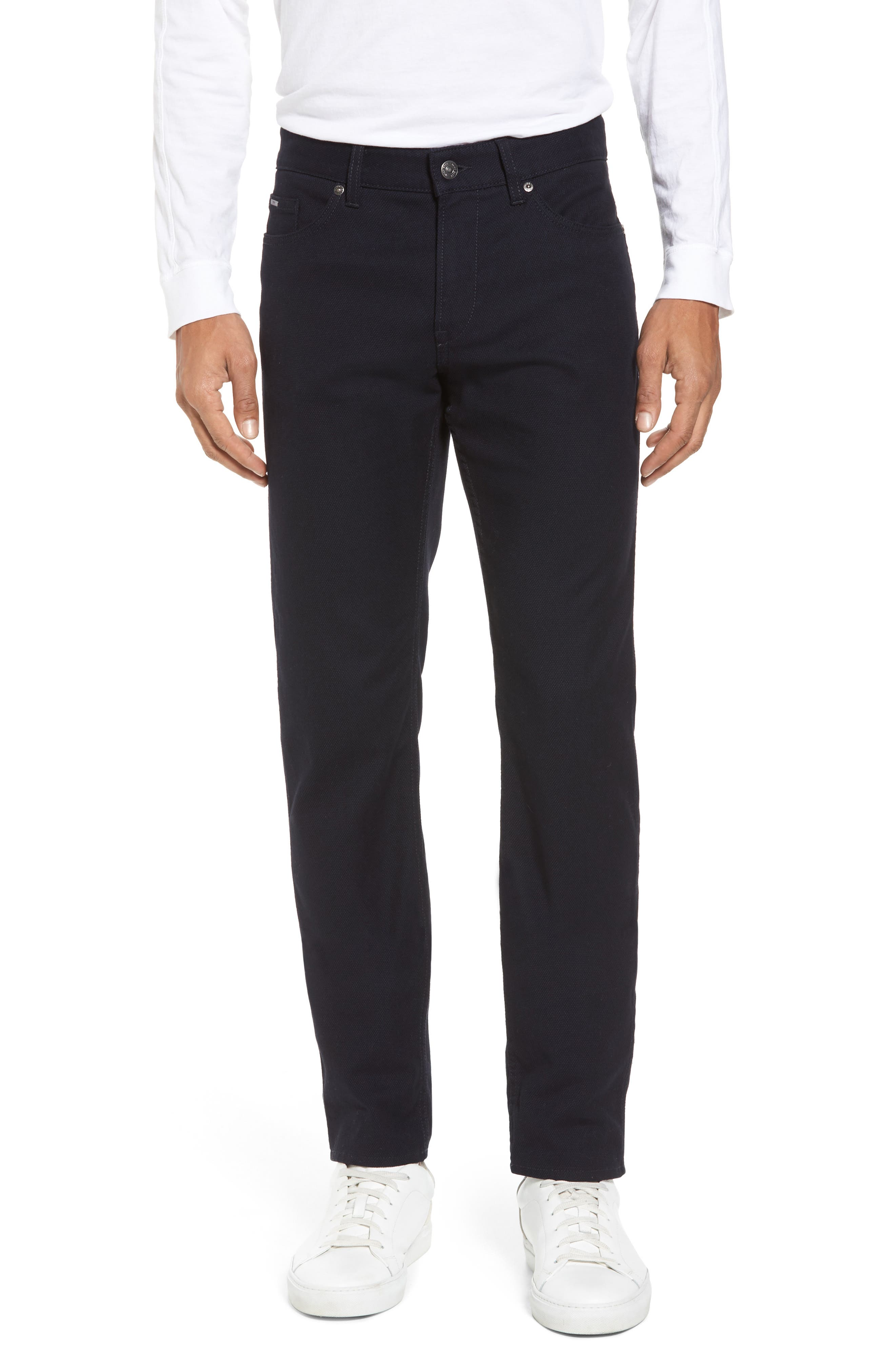 Delaware Slim Microtexture Five Pocket Pants,                         Main,                         color, Navy