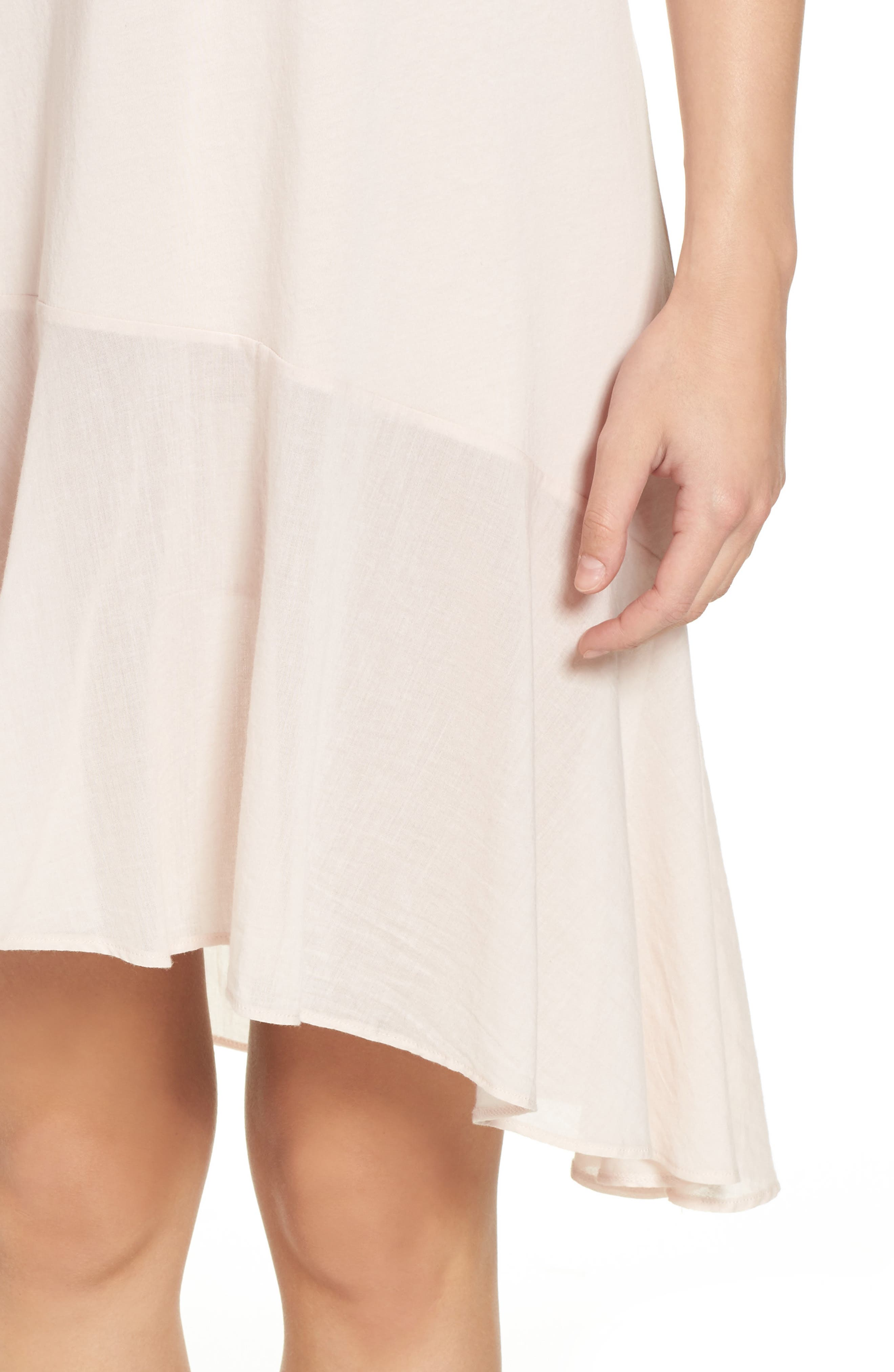 Pima Cotton High/Low Nightgown,                             Alternate thumbnail 4, color,                             Powder Pink