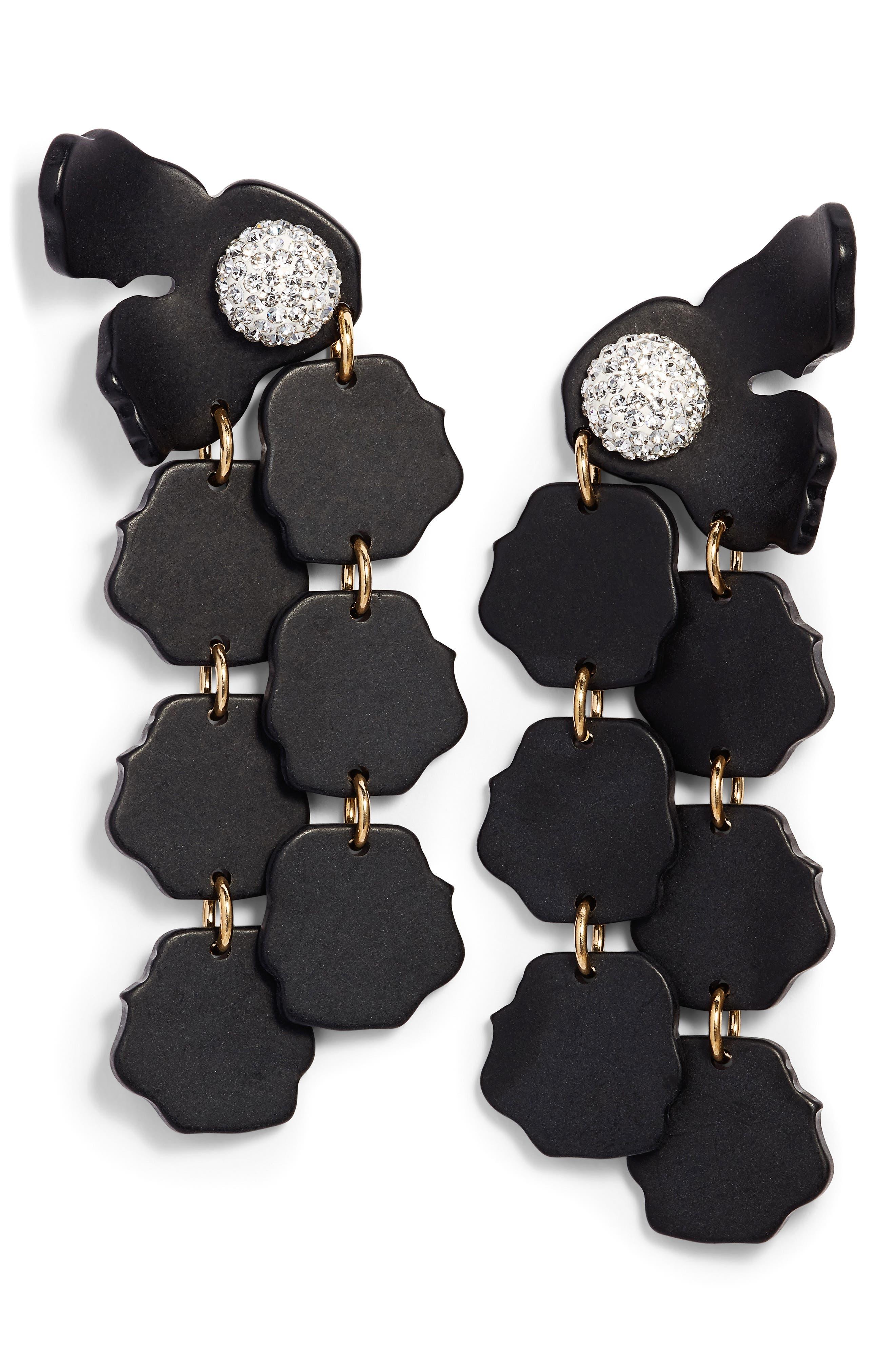 Confetti Petal Drop Earrings,                         Main,                         color, Black