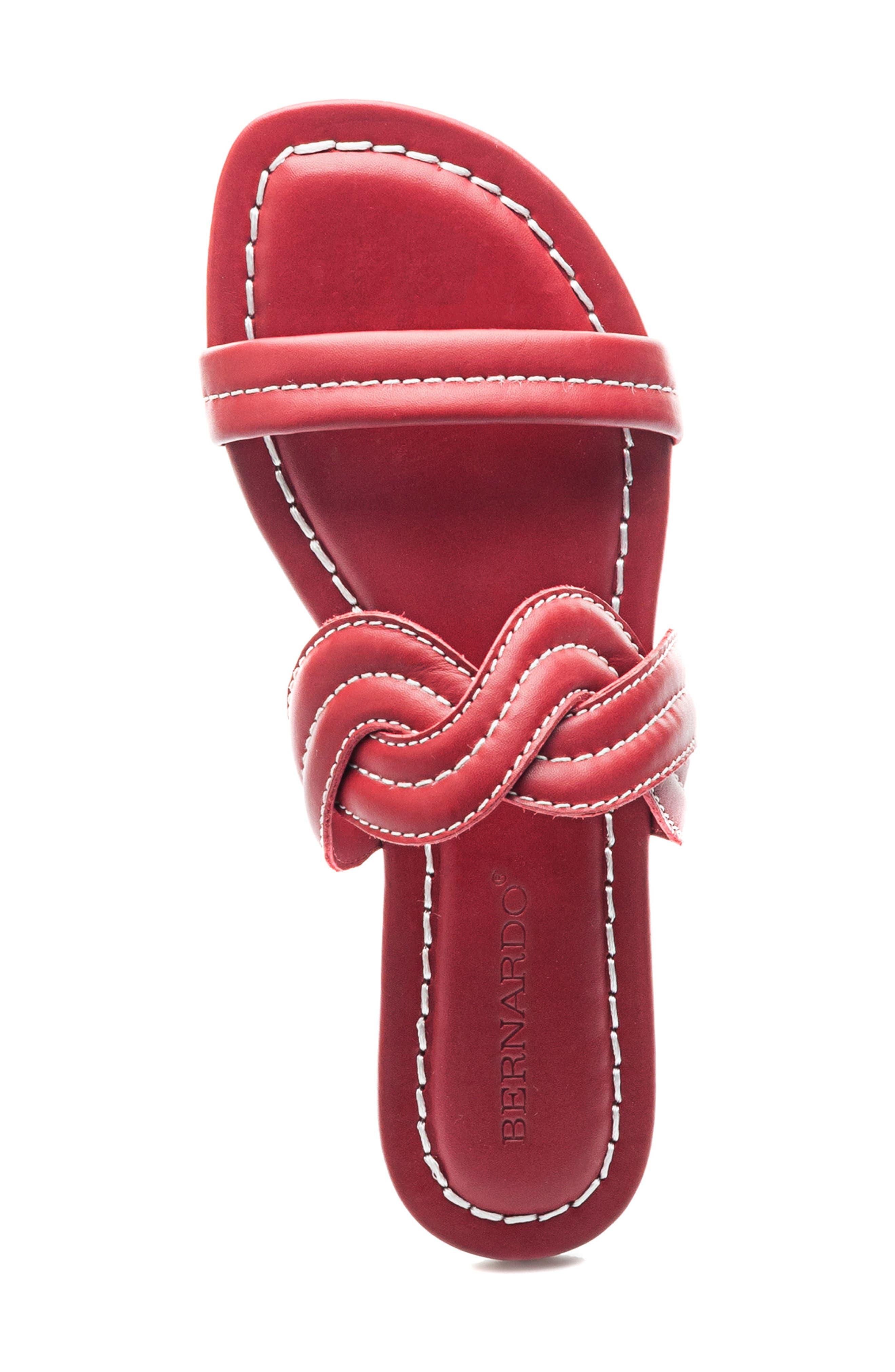 Bernardo Mirian Slide Sandal,                             Alternate thumbnail 5, color,                             Red Leather