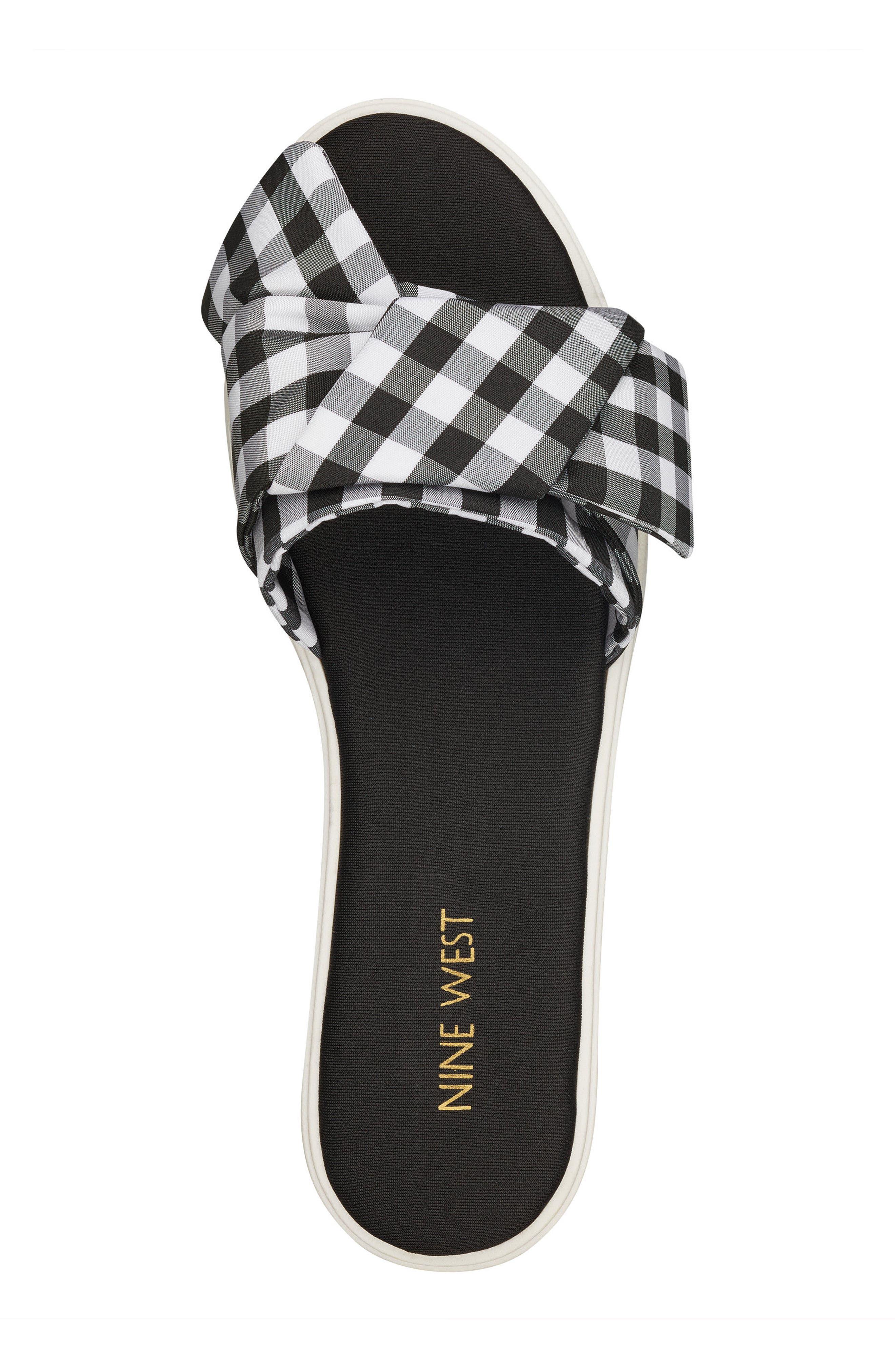 Ruth Slide Sandal,                             Alternate thumbnail 5, color,                             Black/ White Fabric