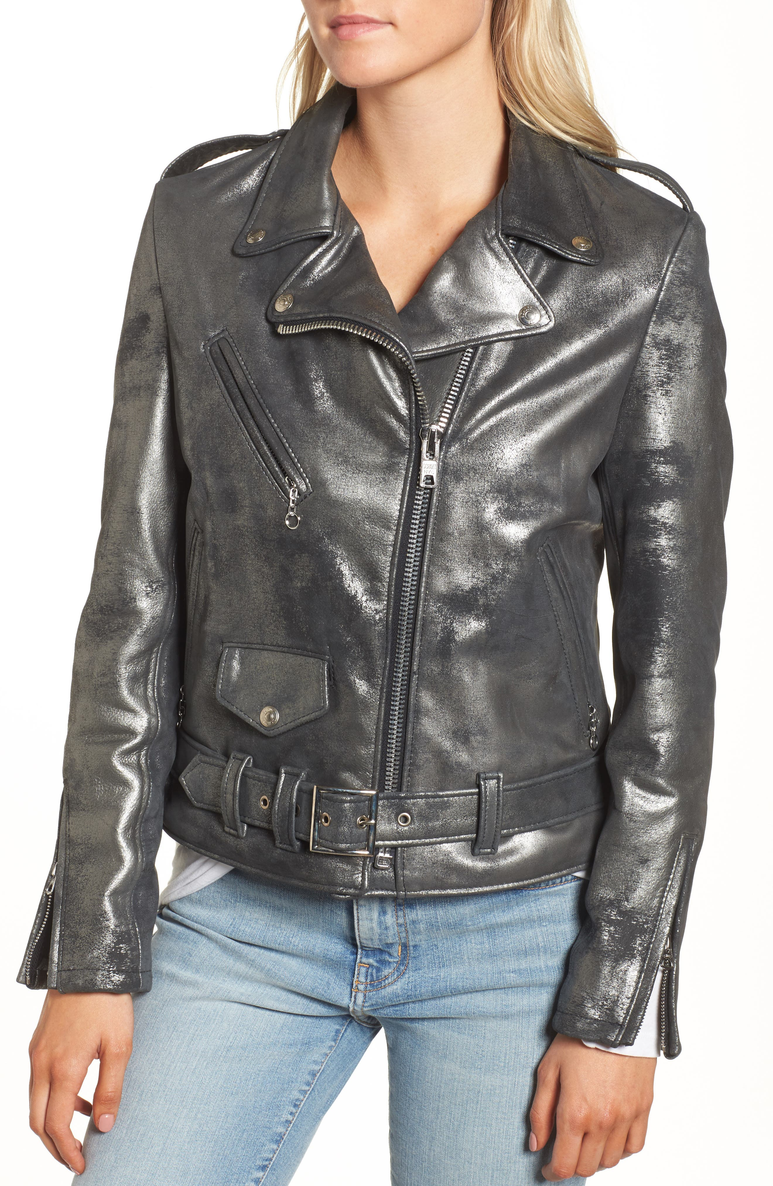 Perfecto Distressed Leather Boyfriend Jacket,                             Alternate thumbnail 6, color,                             Graphite
