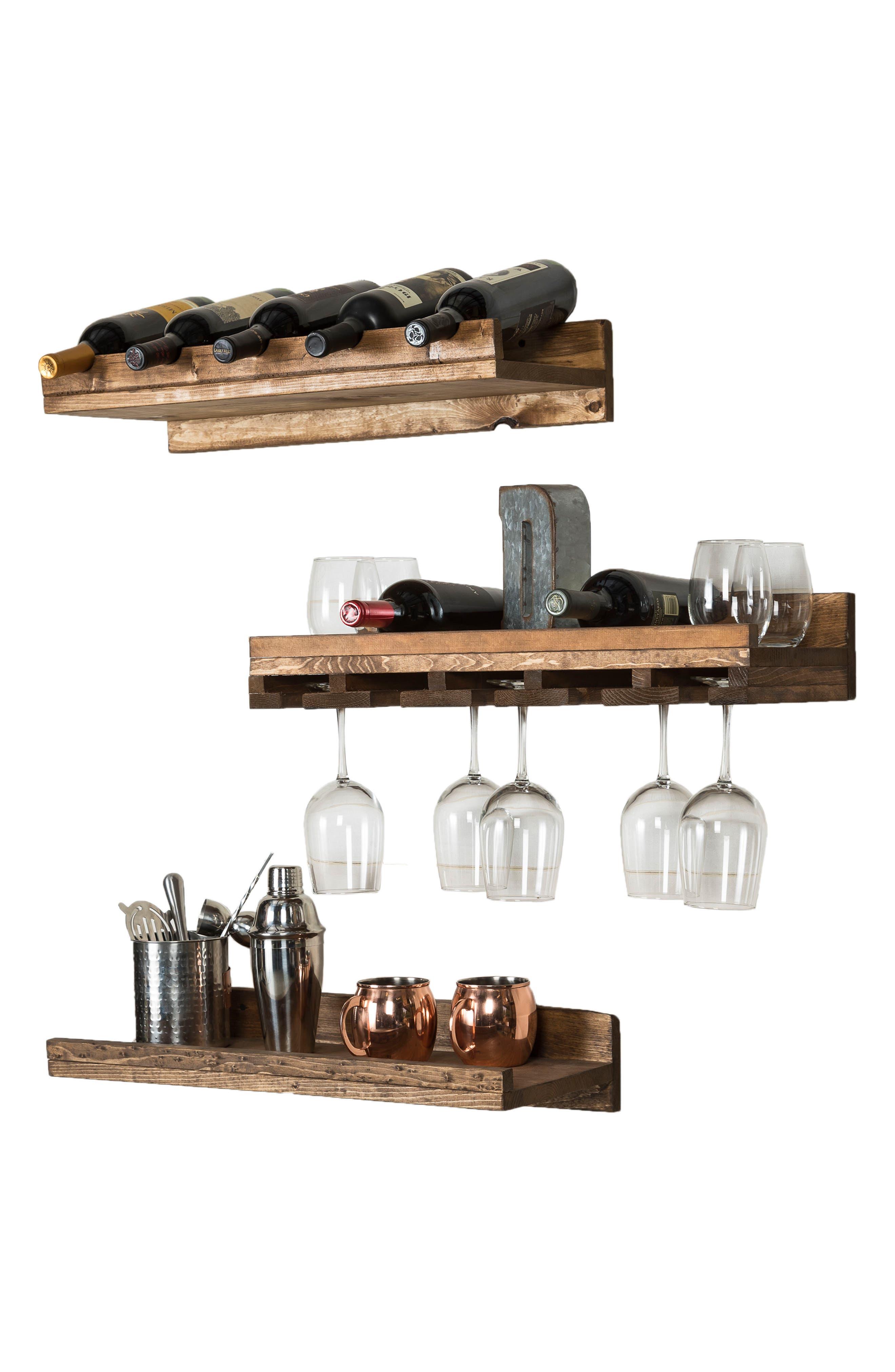 Set of 3 Pine Wood Wine Racks,                             Alternate thumbnail 4, color,                             Dark Walnut