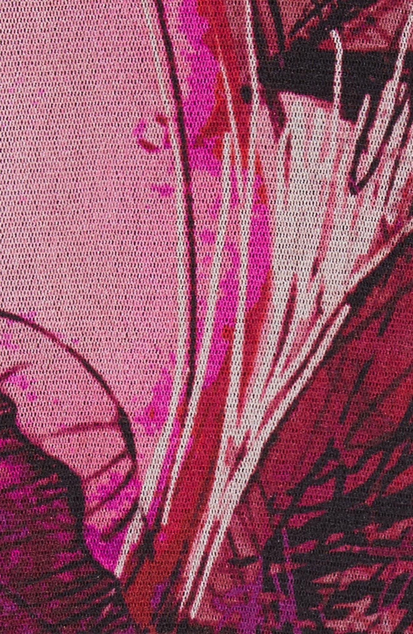 Print Tulle Waterfall Hem Cardigan,                             Alternate thumbnail 6, color,                             Pink/Purple