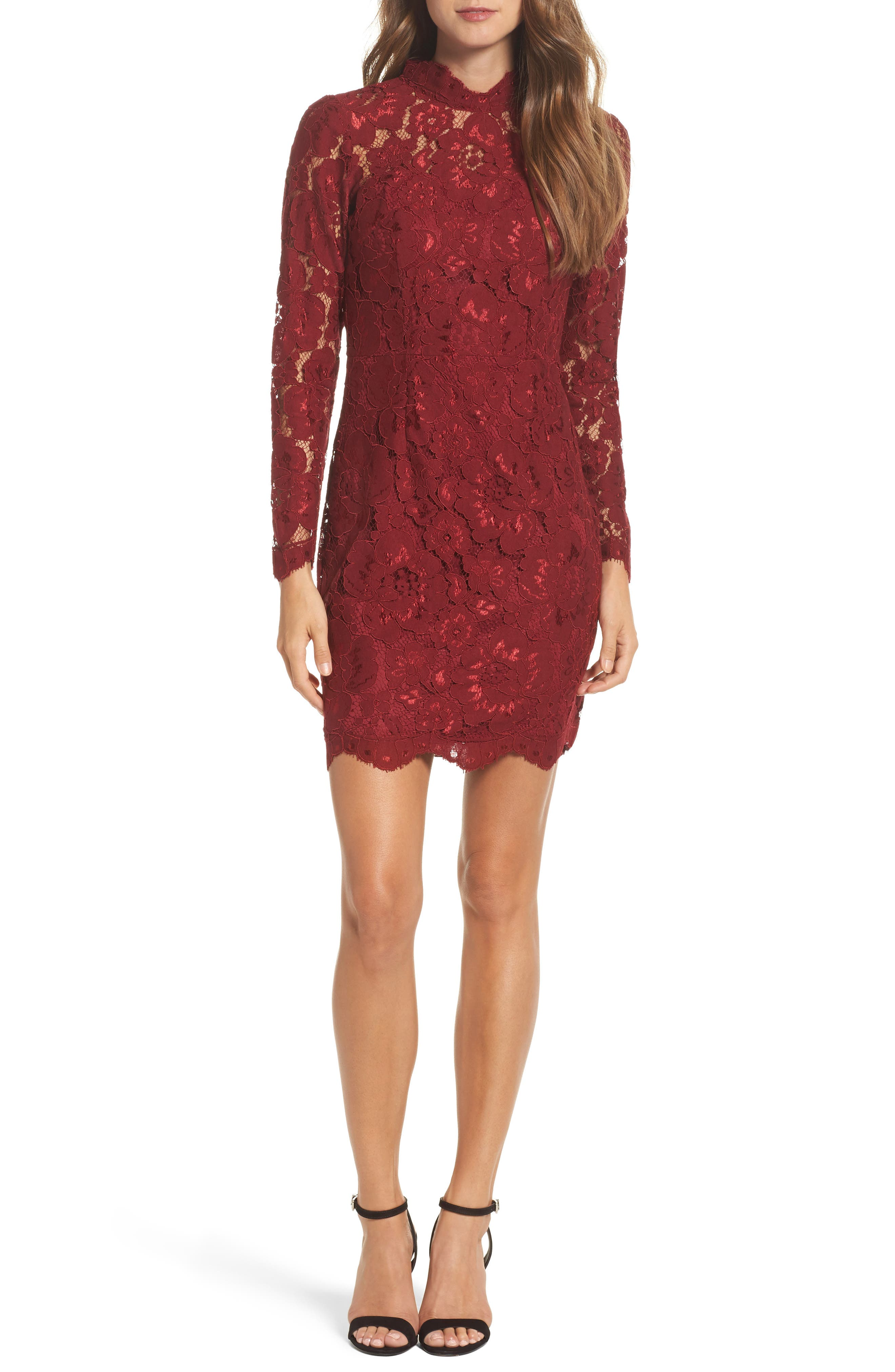 Lace Sheath Dress,                         Main,                         color, Red