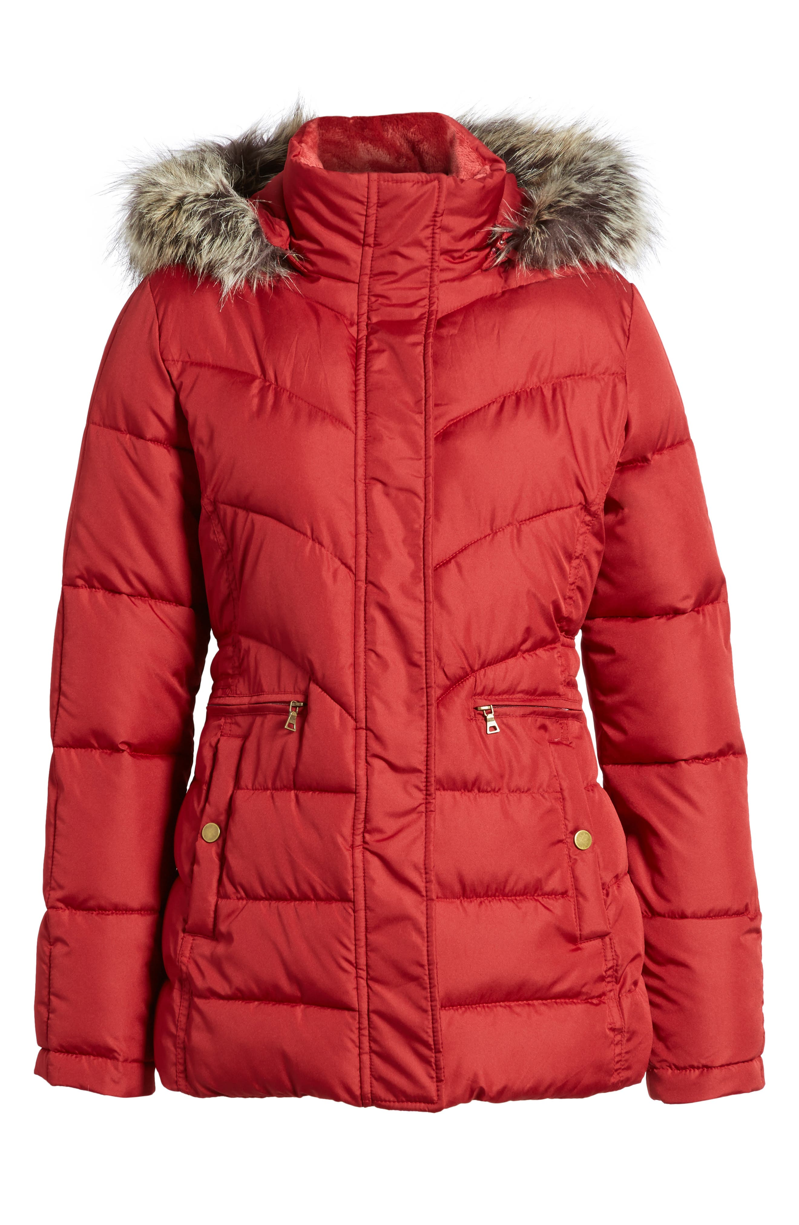 Quilted Coat with Faux Fur Trim,                             Alternate thumbnail 6, color,                             Brick