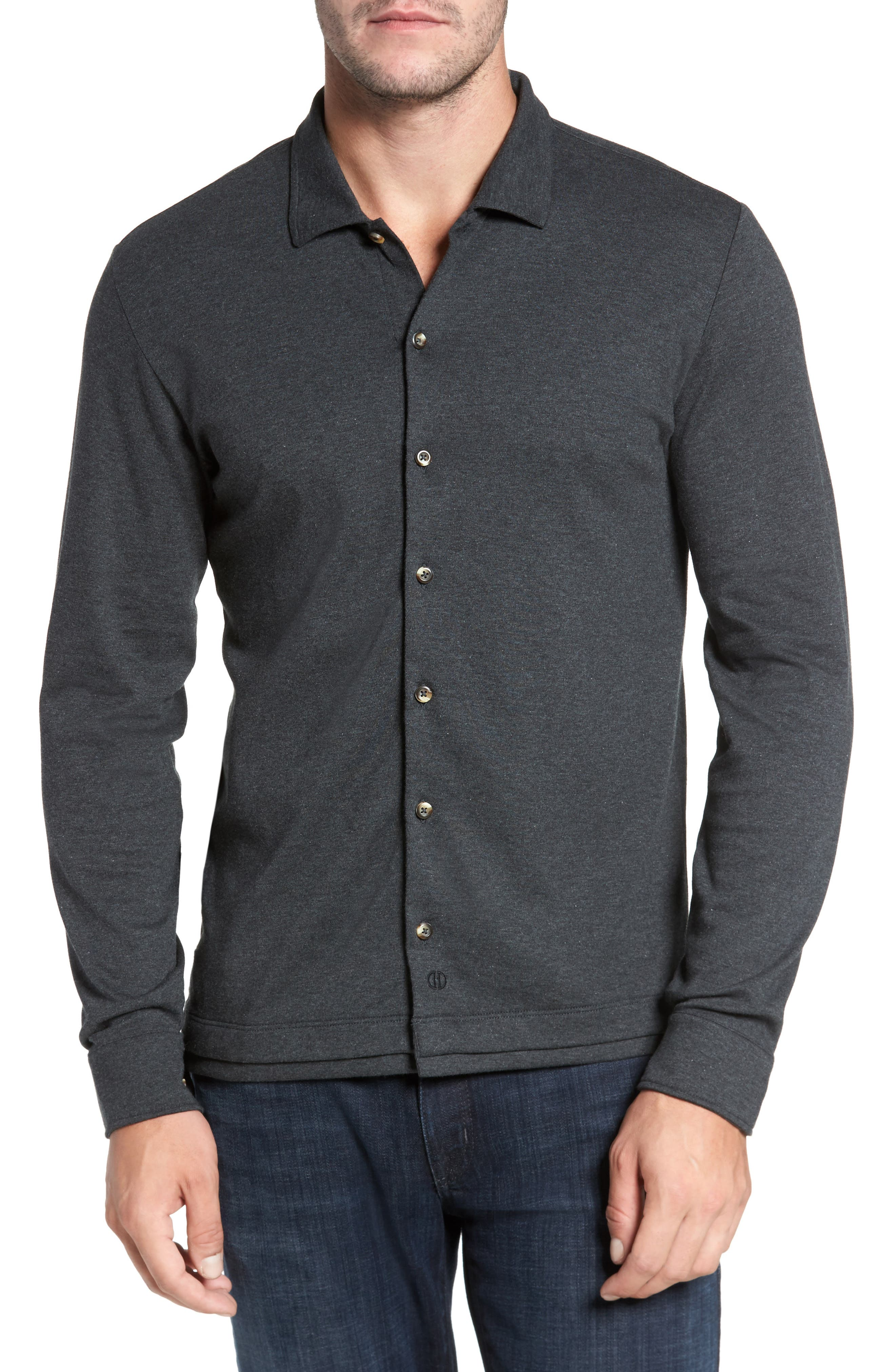 Alternate Image 1 Selected - David Donahue Interlock Knit Sport Shirt