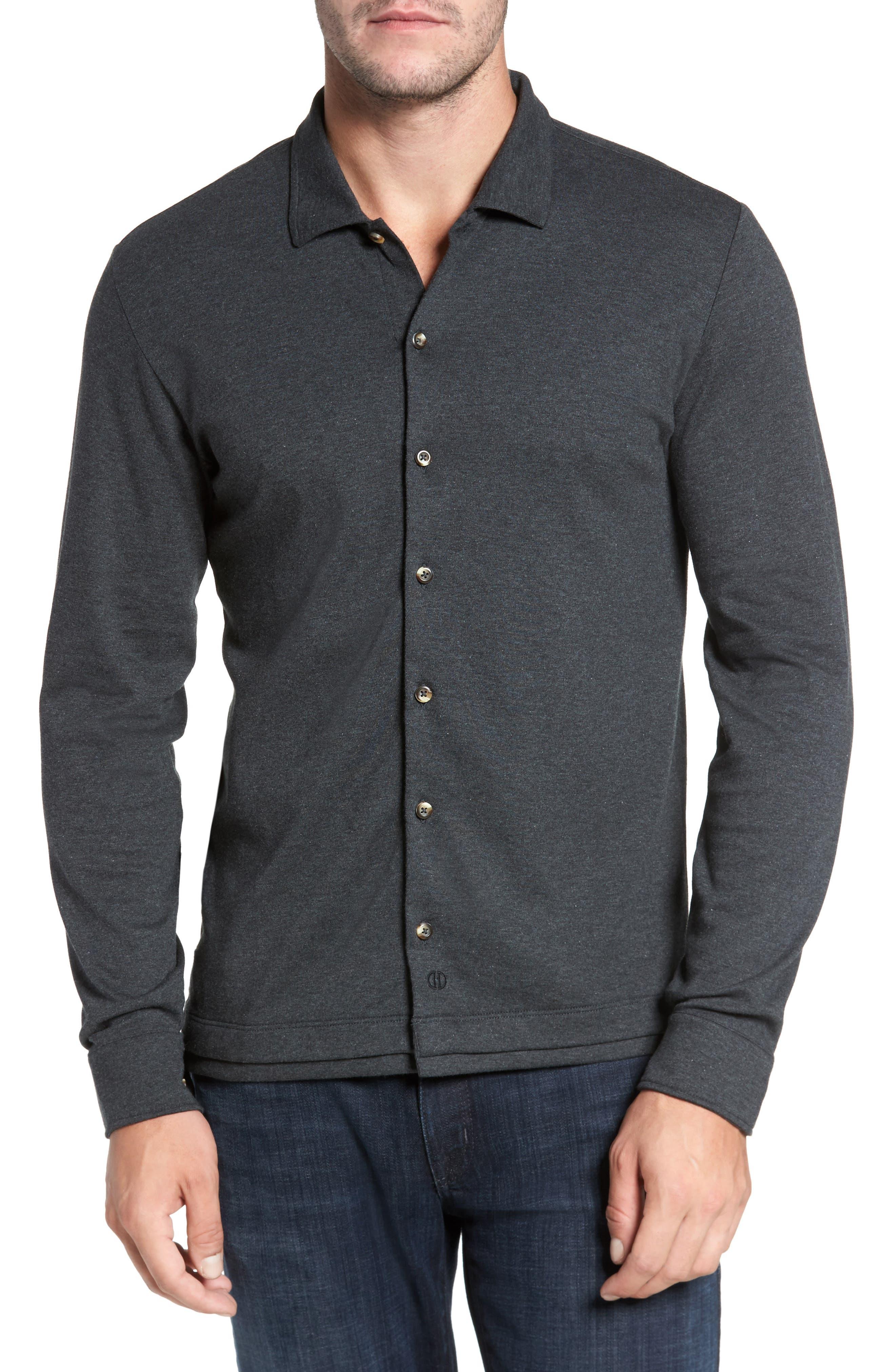 Main Image - David Donahue Interlock Knit Sport Shirt