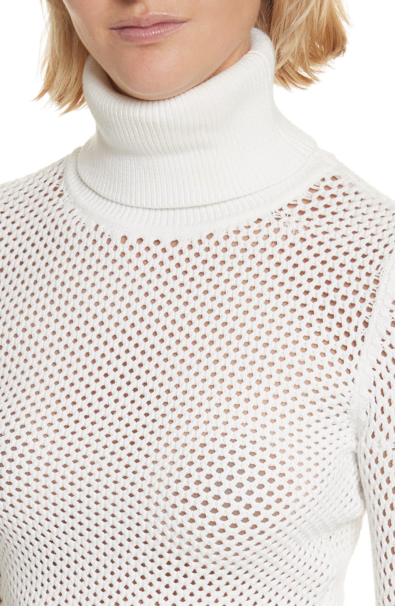 Jones Fishnet Sweater,                             Alternate thumbnail 4, color,                             White