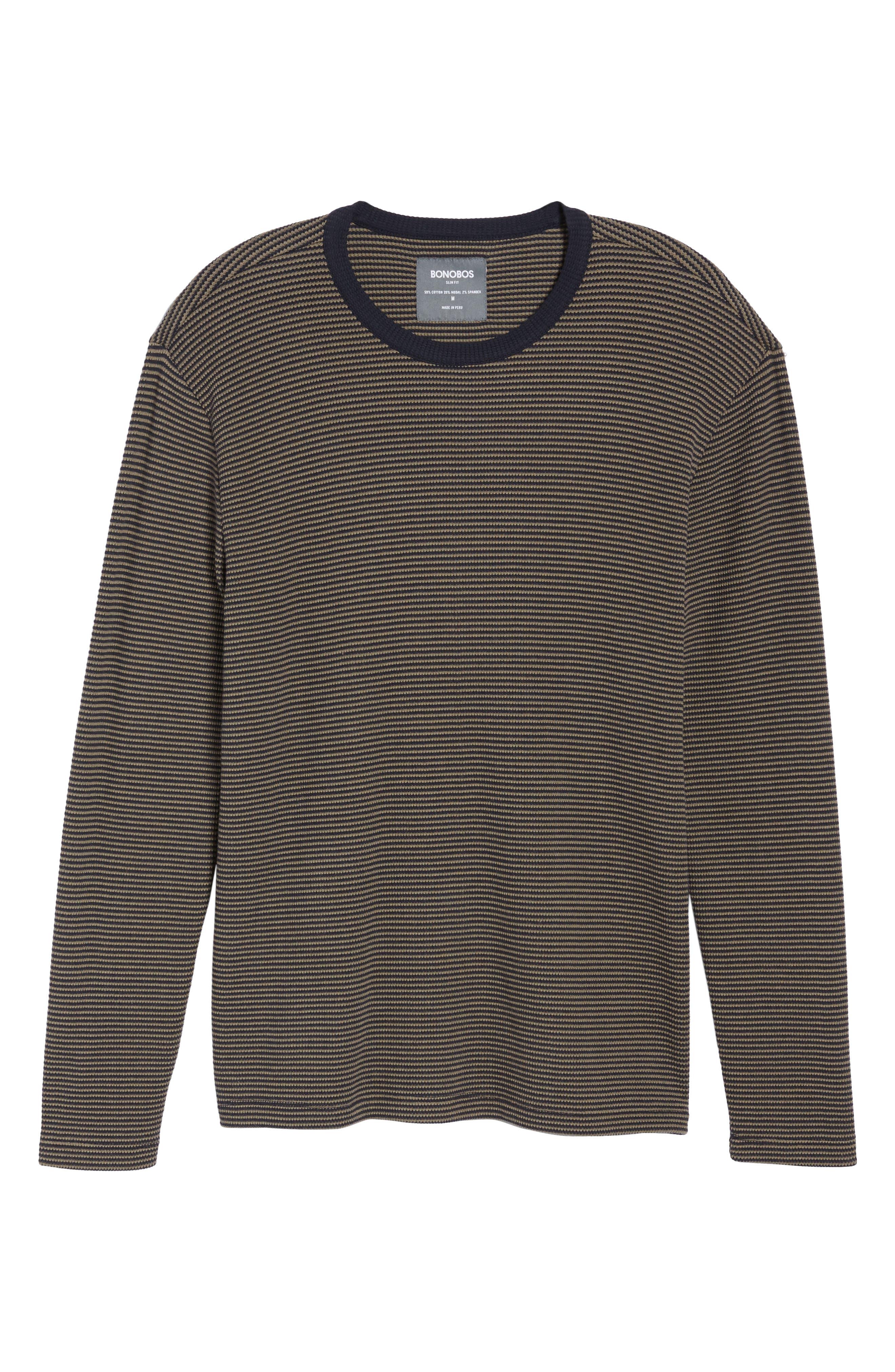 Slim Fit Waffle Knit T-Shirt,                             Alternate thumbnail 6, color,                             Oak/ Stormy Night