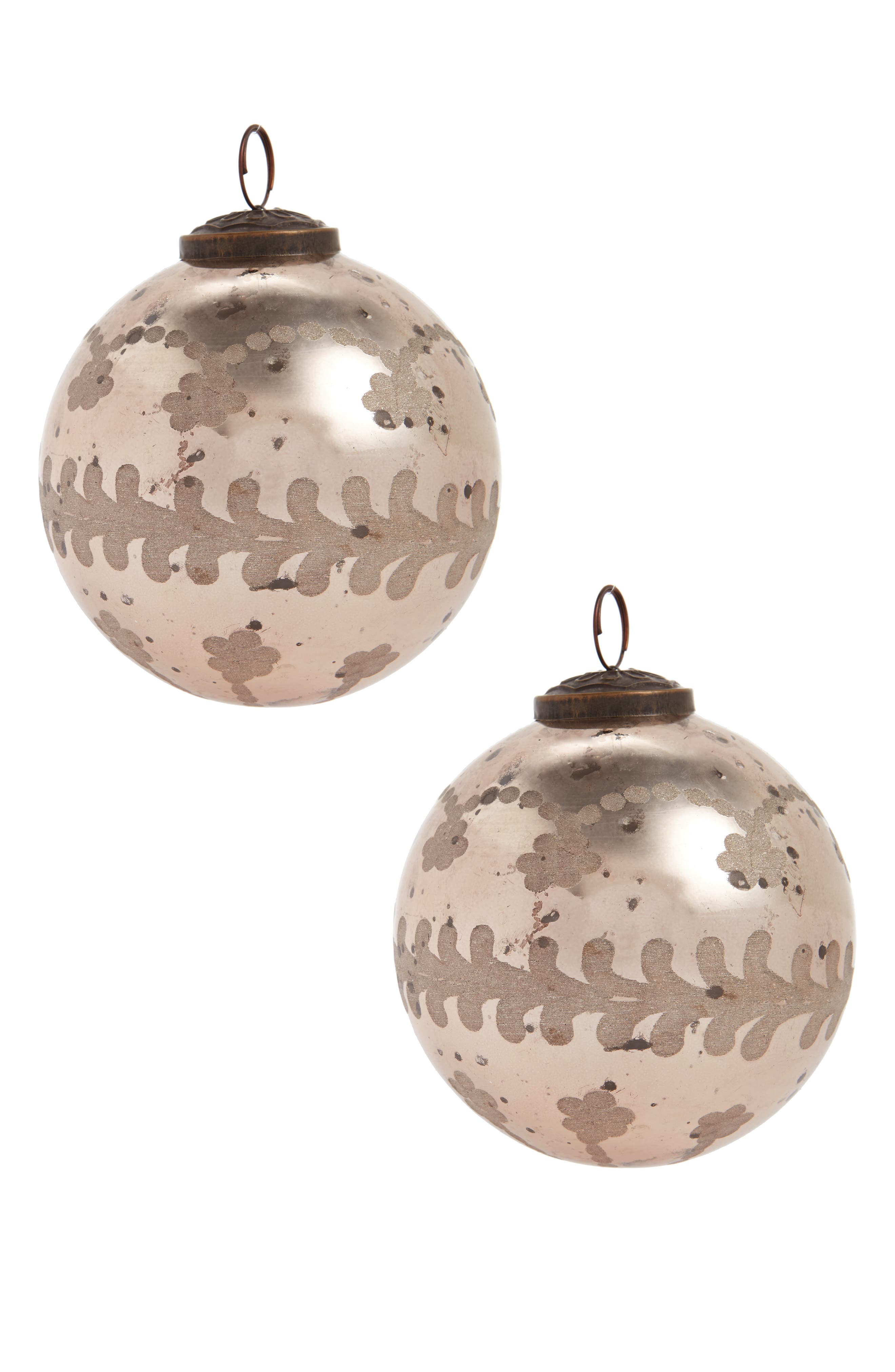 Arty Set of 2 Glass Ball Ornaments