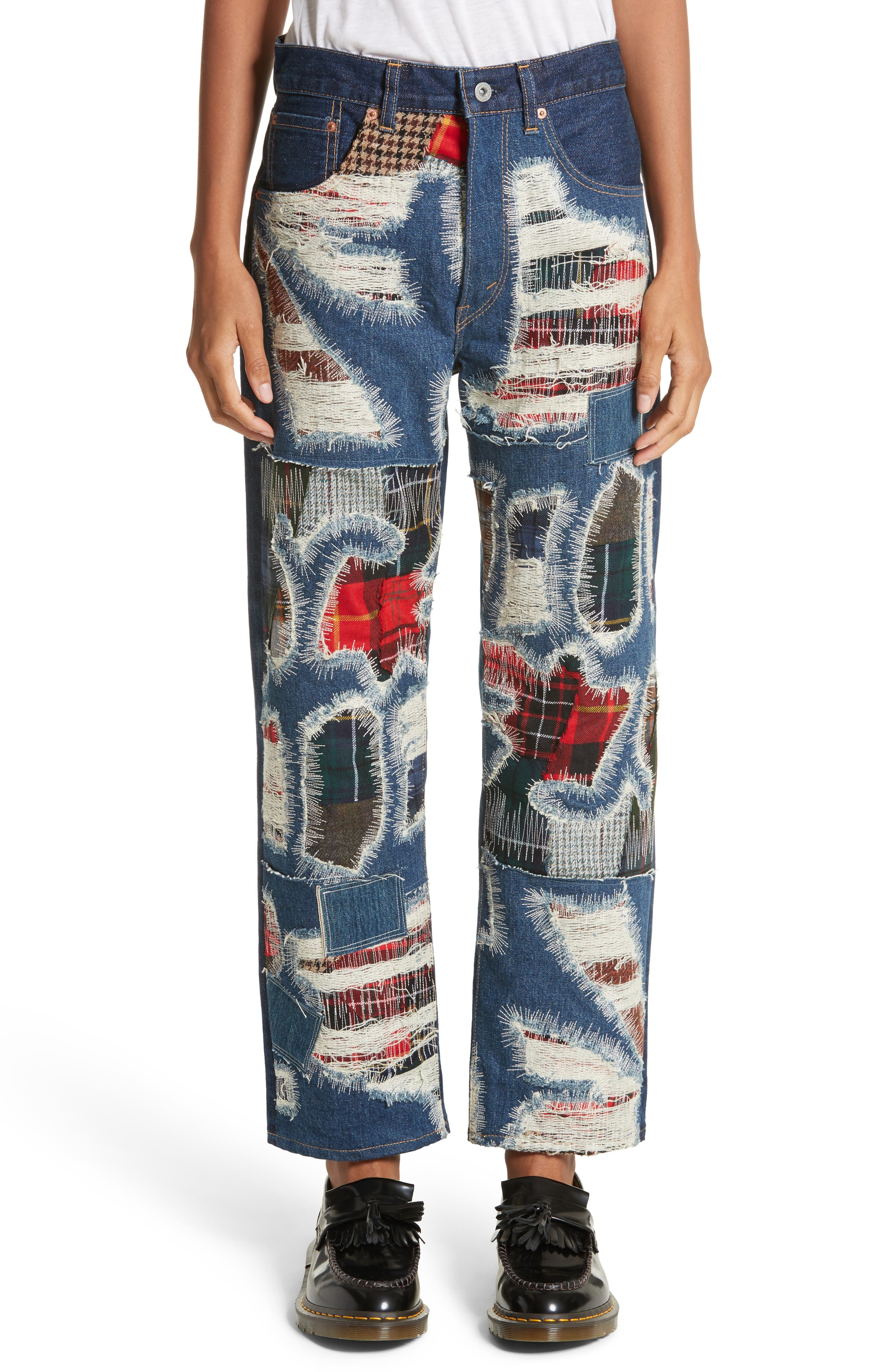Distressed Patch Jeans,                         Main,                         color, Indigo X Mix