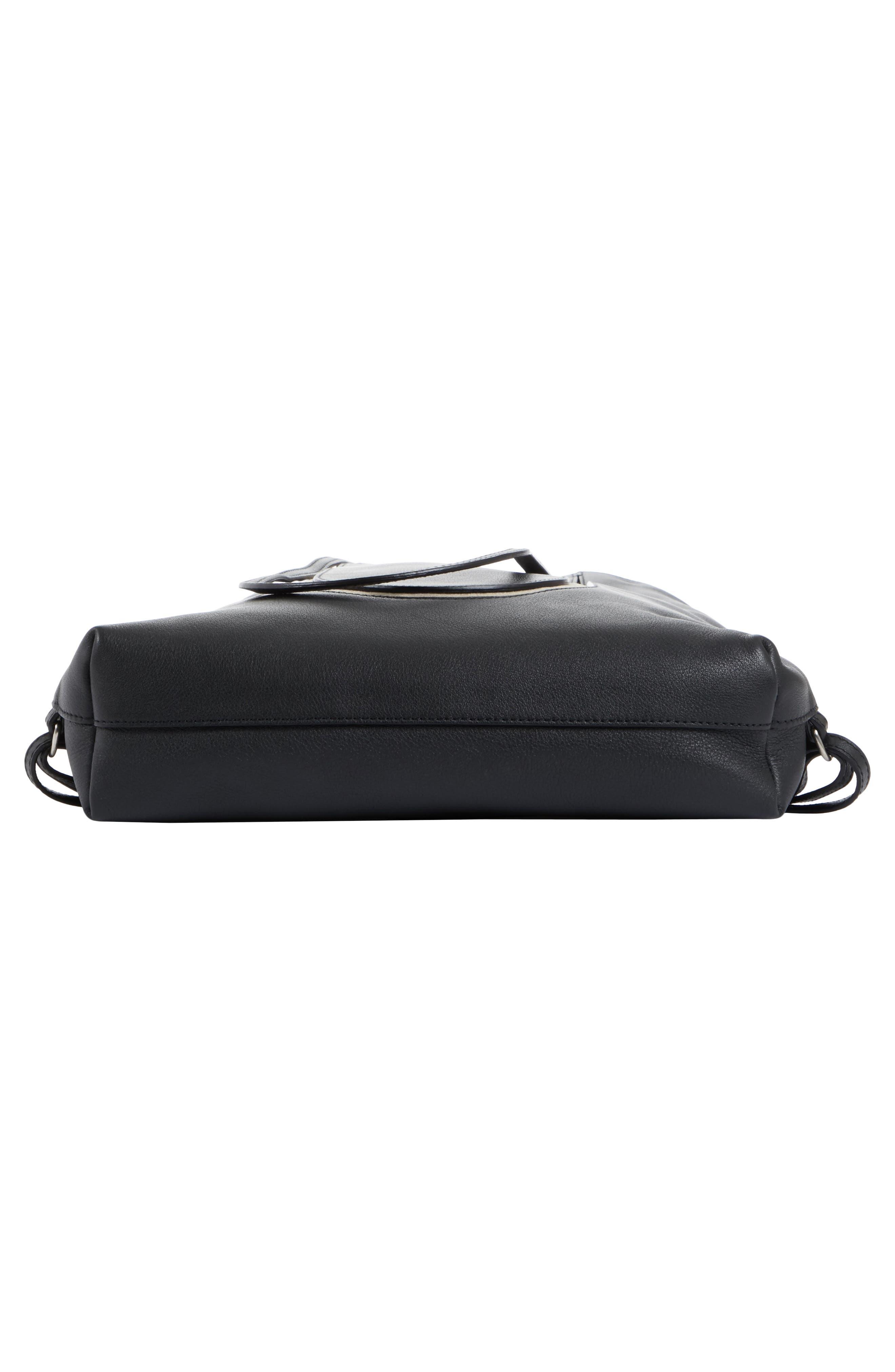 Calfskin Leather Backpack,                             Alternate thumbnail 6, color,                             Black