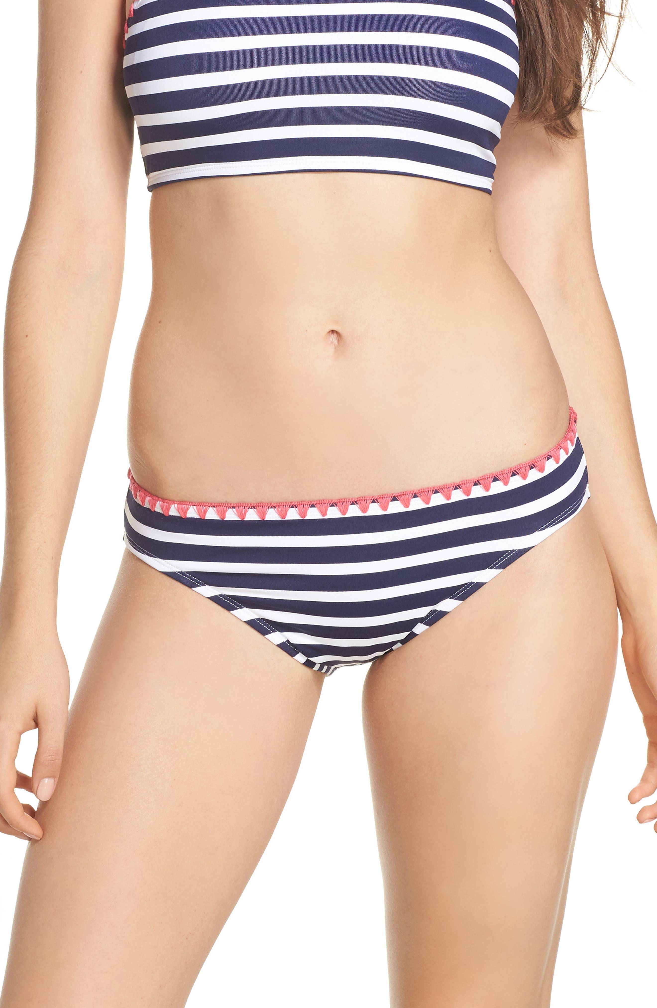 Breton Stripe Bikini Bottoms,                         Main,                         color, Mare Navy/ White